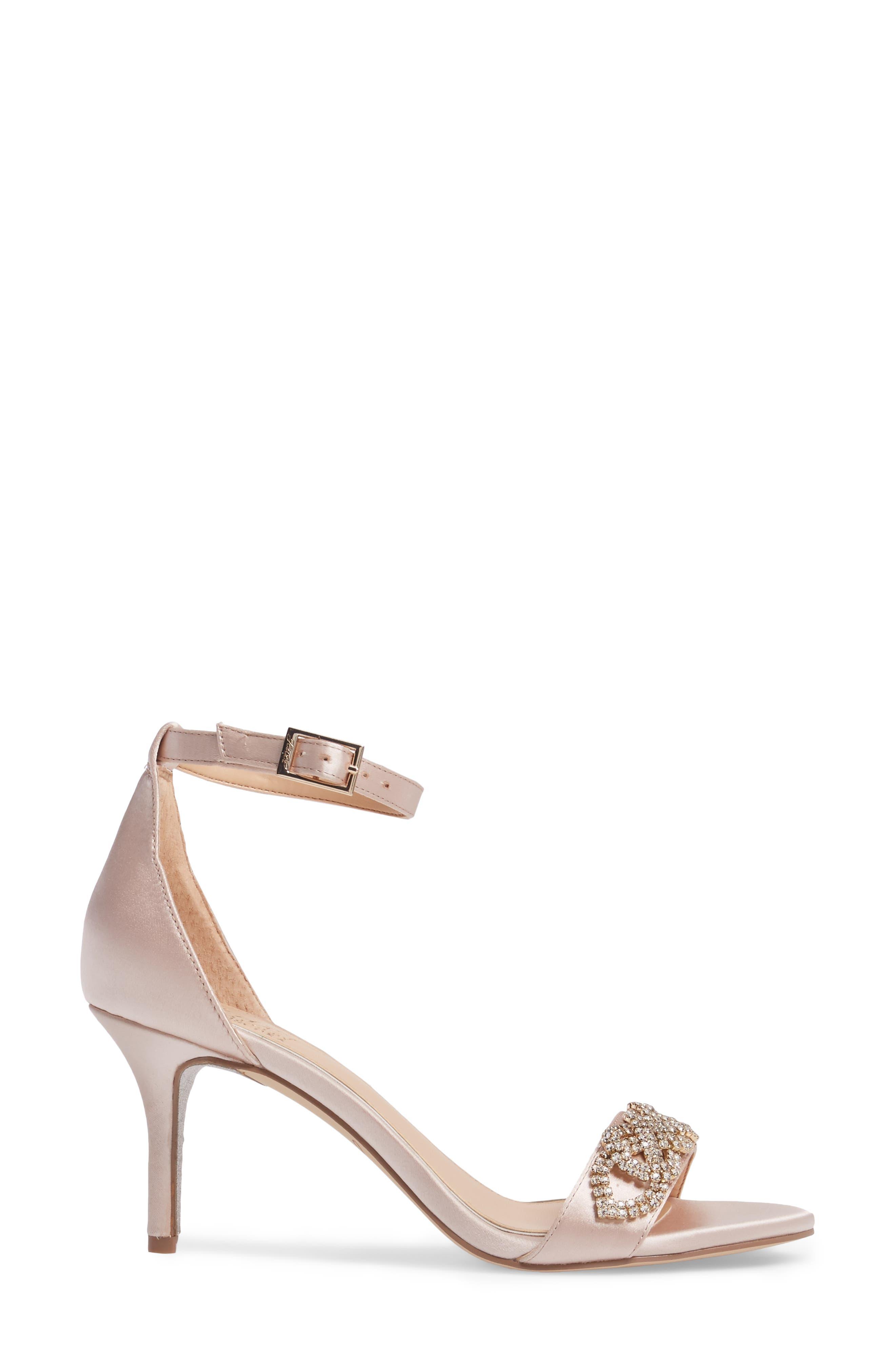 Alana Ankle Strap Sandal,                             Alternate thumbnail 3, color,                             Champagne Satin