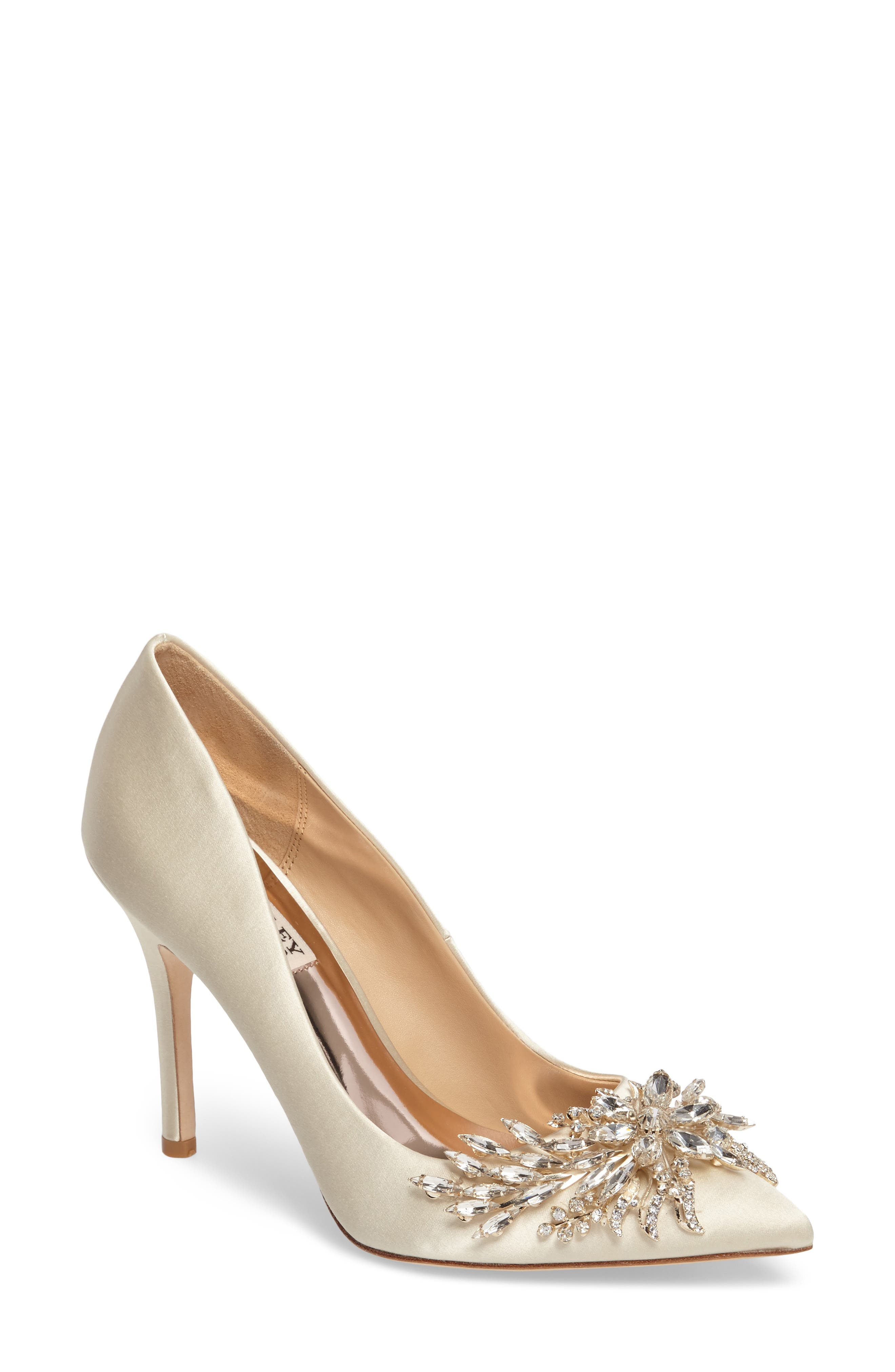 Marcela Pointy Toe Pump,                         Main,                         color, Ivory Satin