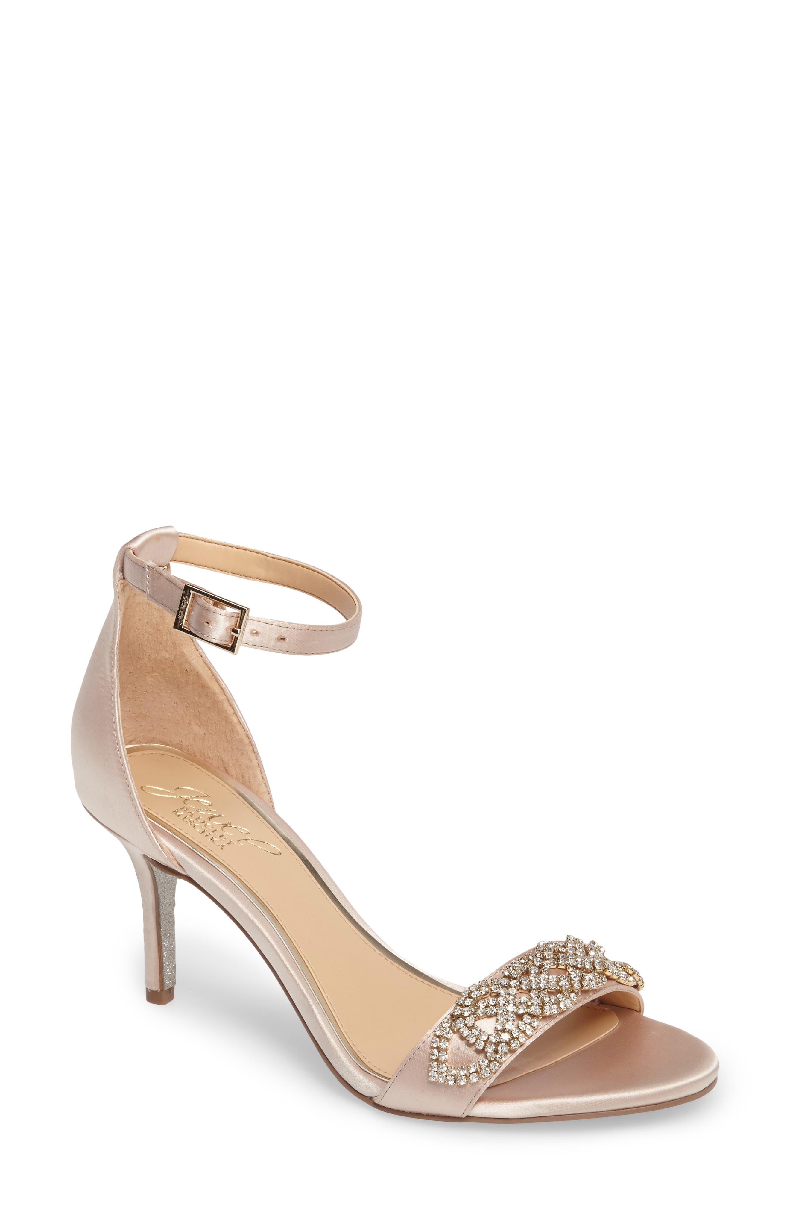Alana Ankle Strap Sandal,                             Main thumbnail 1, color,                             Champagne Satin