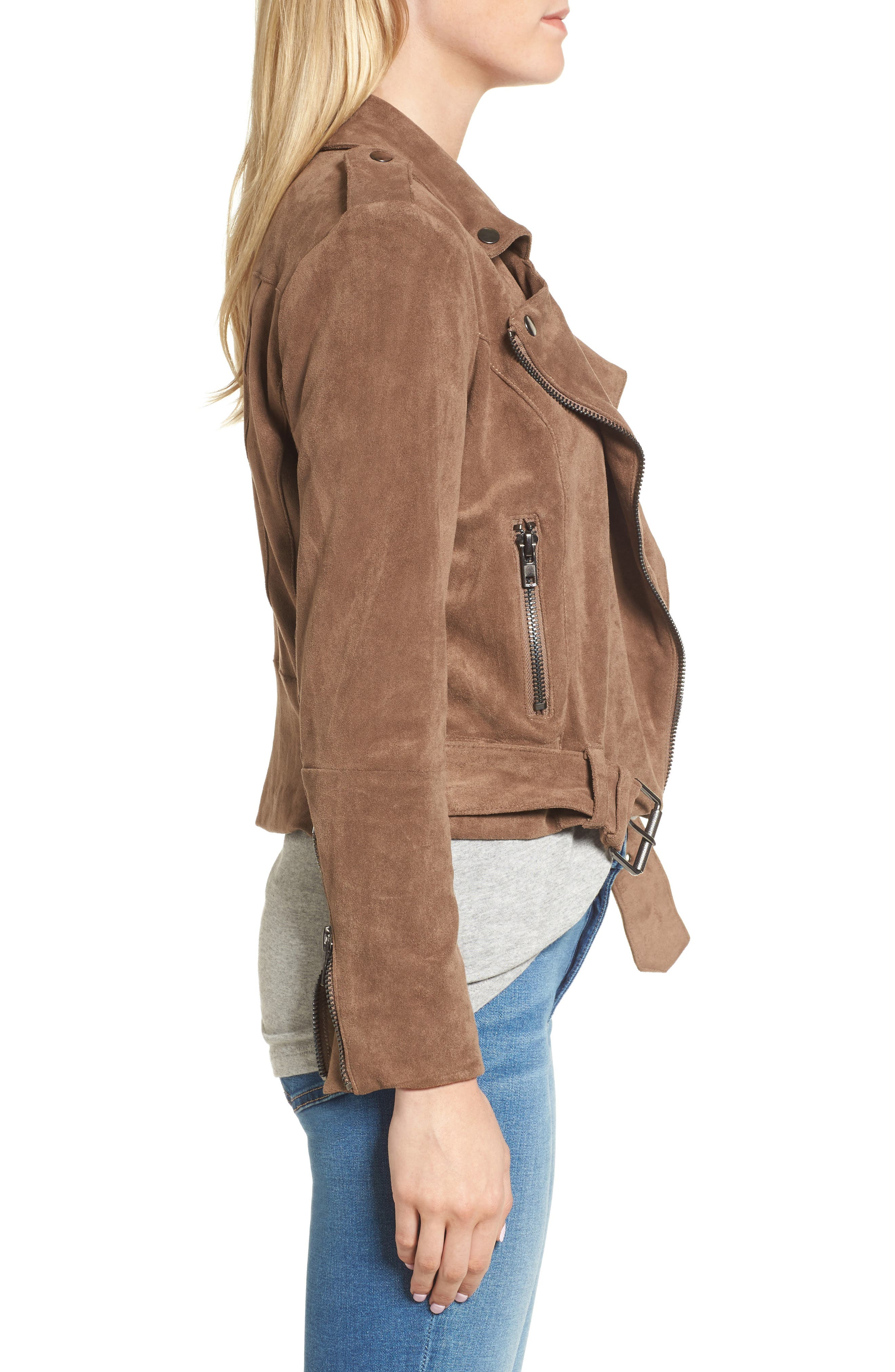 Waller Faux Suede Moto Jacket,                             Alternate thumbnail 3, color,                             Mocha