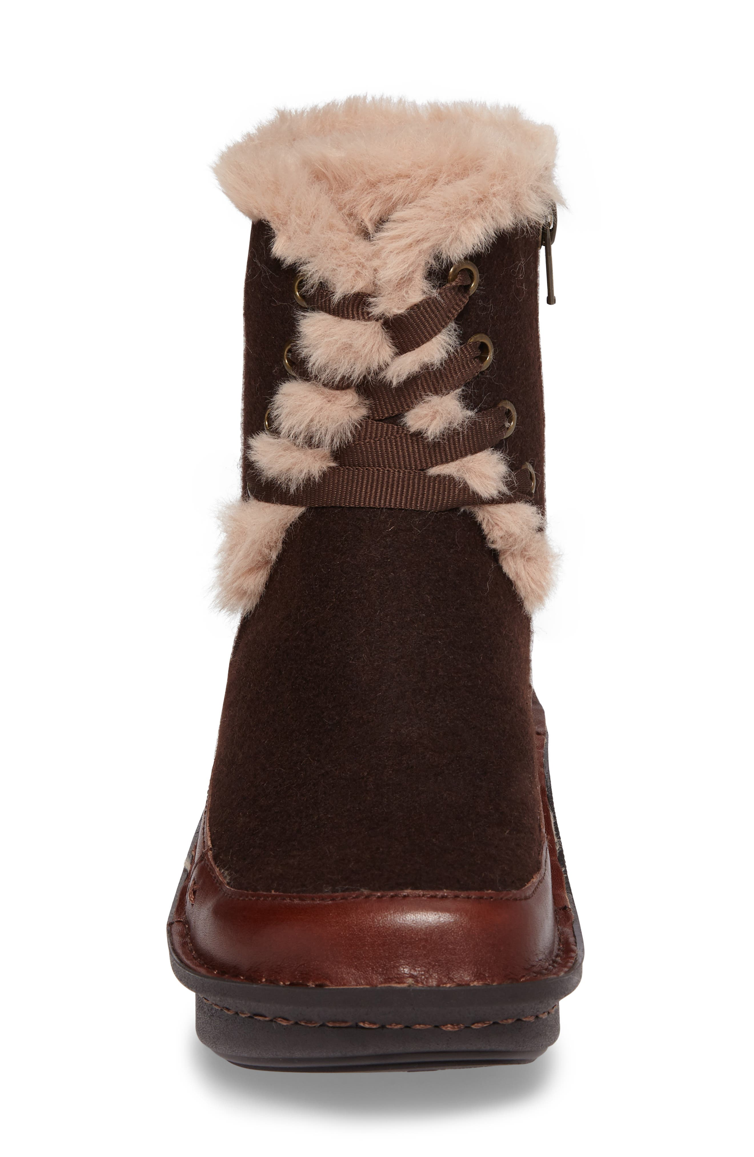 Twisp Lace-Up Boot with Faux Fur Lining,                             Alternate thumbnail 4, color,                             Hazelnut Wool Leather