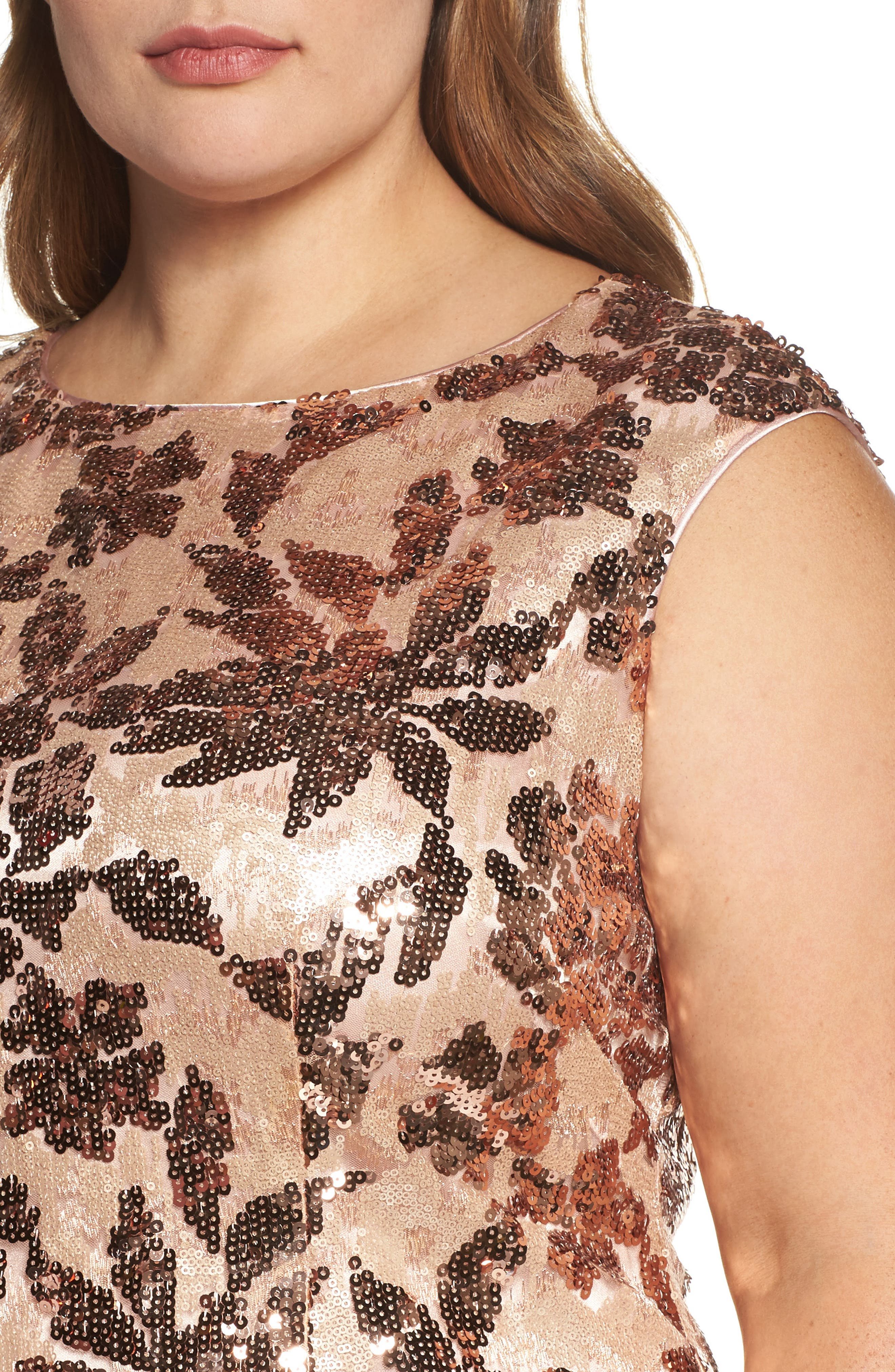 Sequin Sheath Dress,                             Alternate thumbnail 4, color,                             Rose Gold