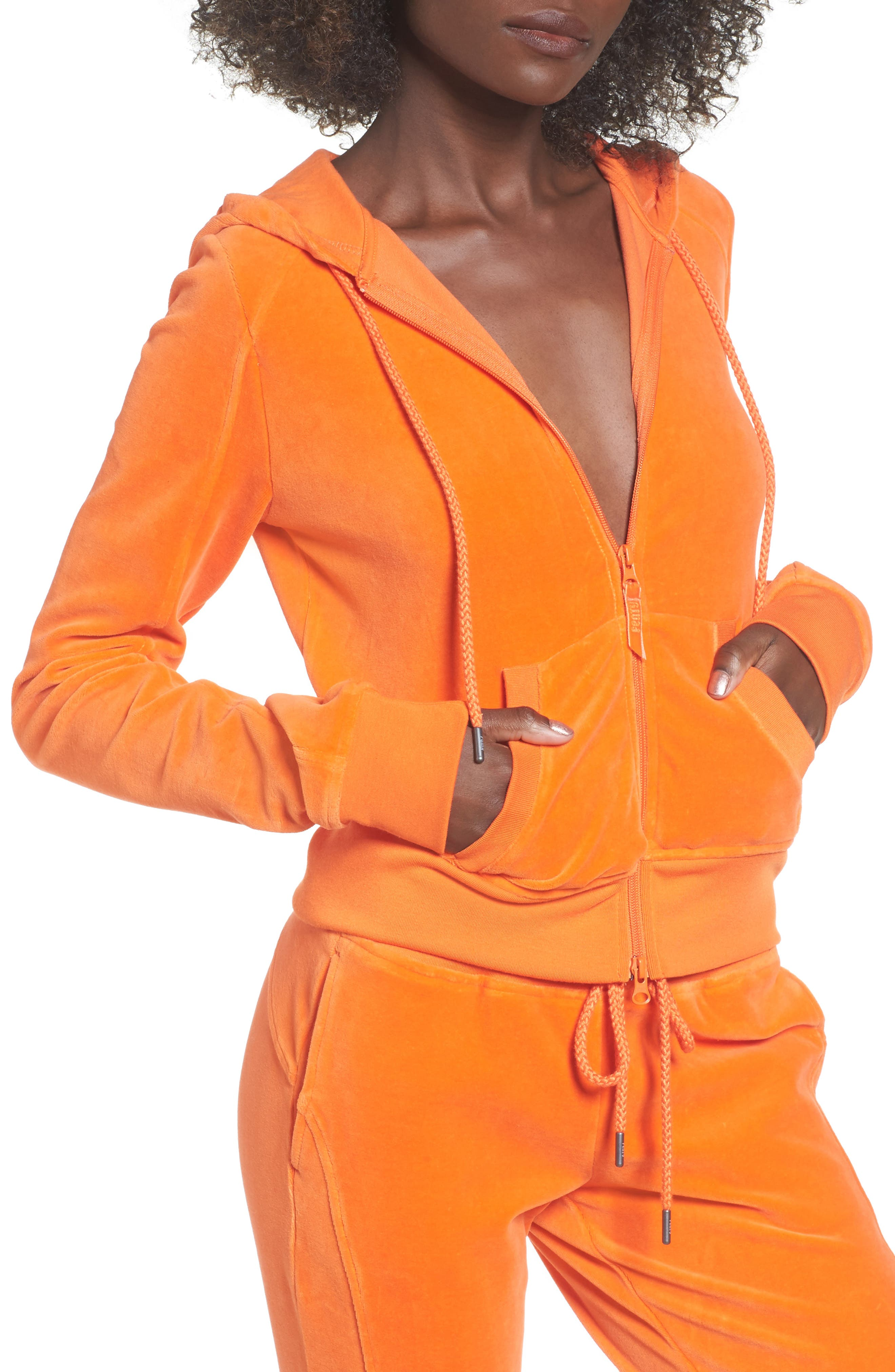 PUMA by Rihanna Velour Zip Hoodie,                         Main,                         color, Flame (Orange)
