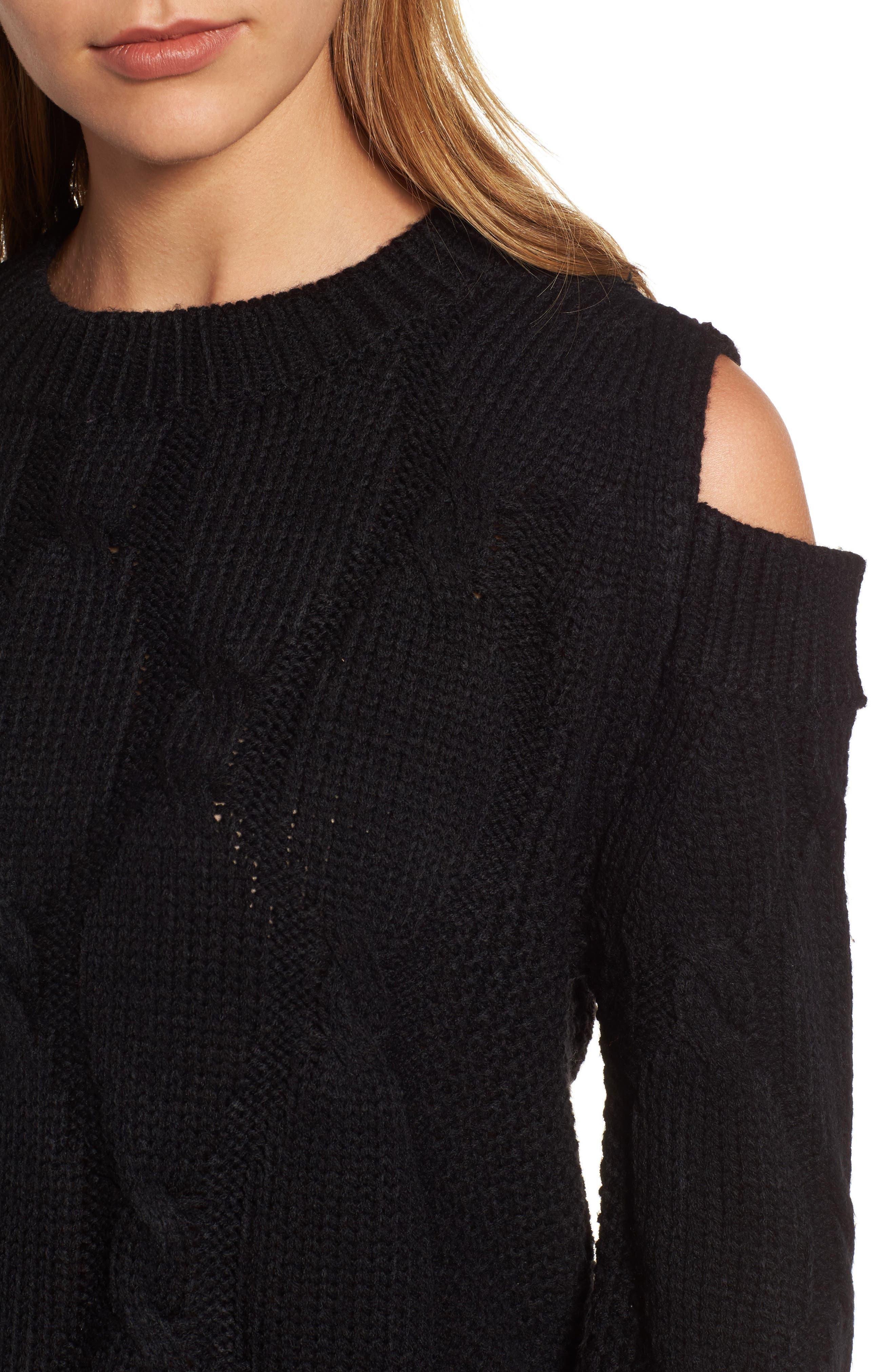 Cold Shoulder Cable Sweater,                             Alternate thumbnail 4, color,                             Black
