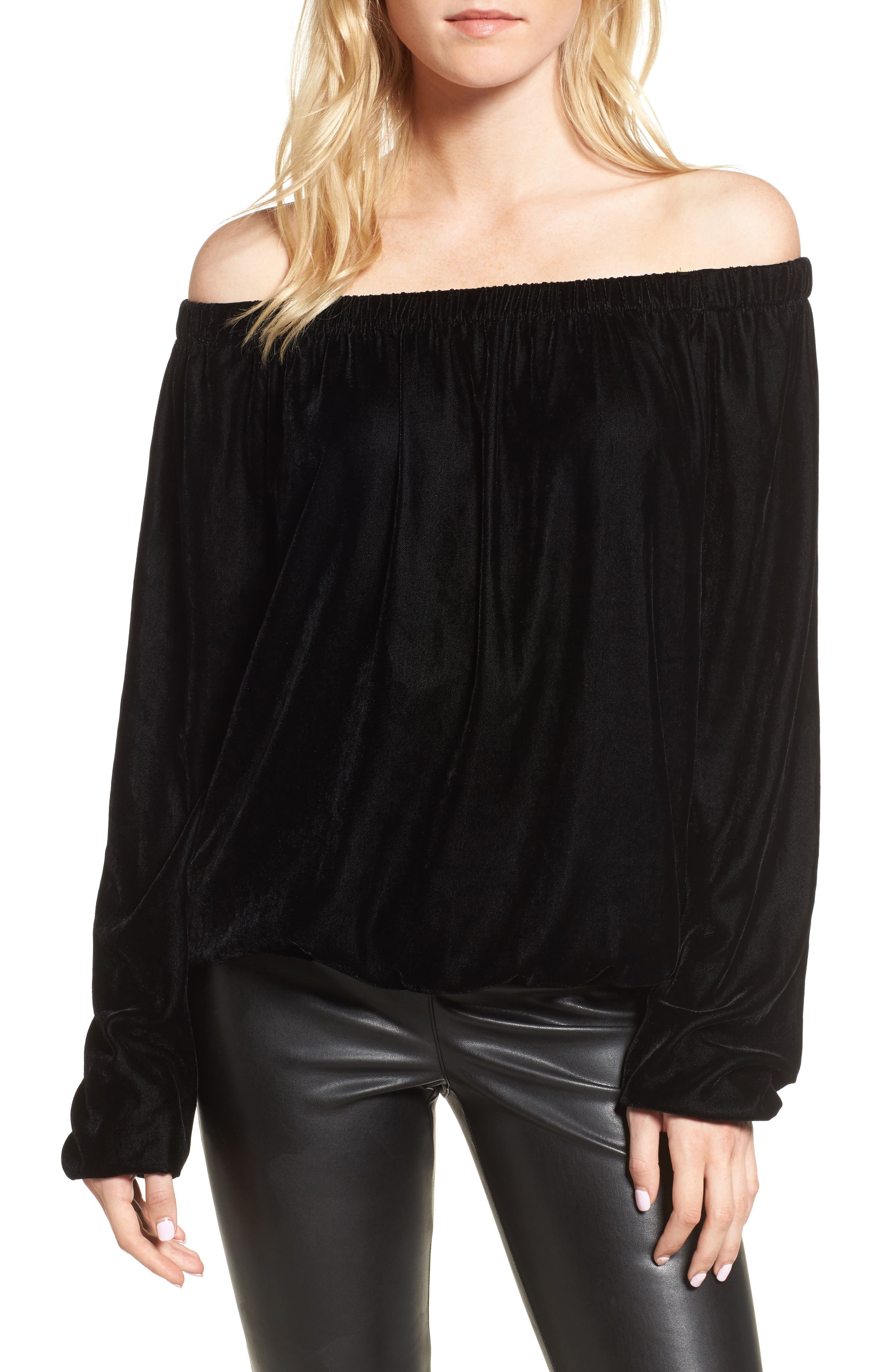 Children of Lilith Off the Shoulder Velvet Top,                             Main thumbnail 1, color,                             Black