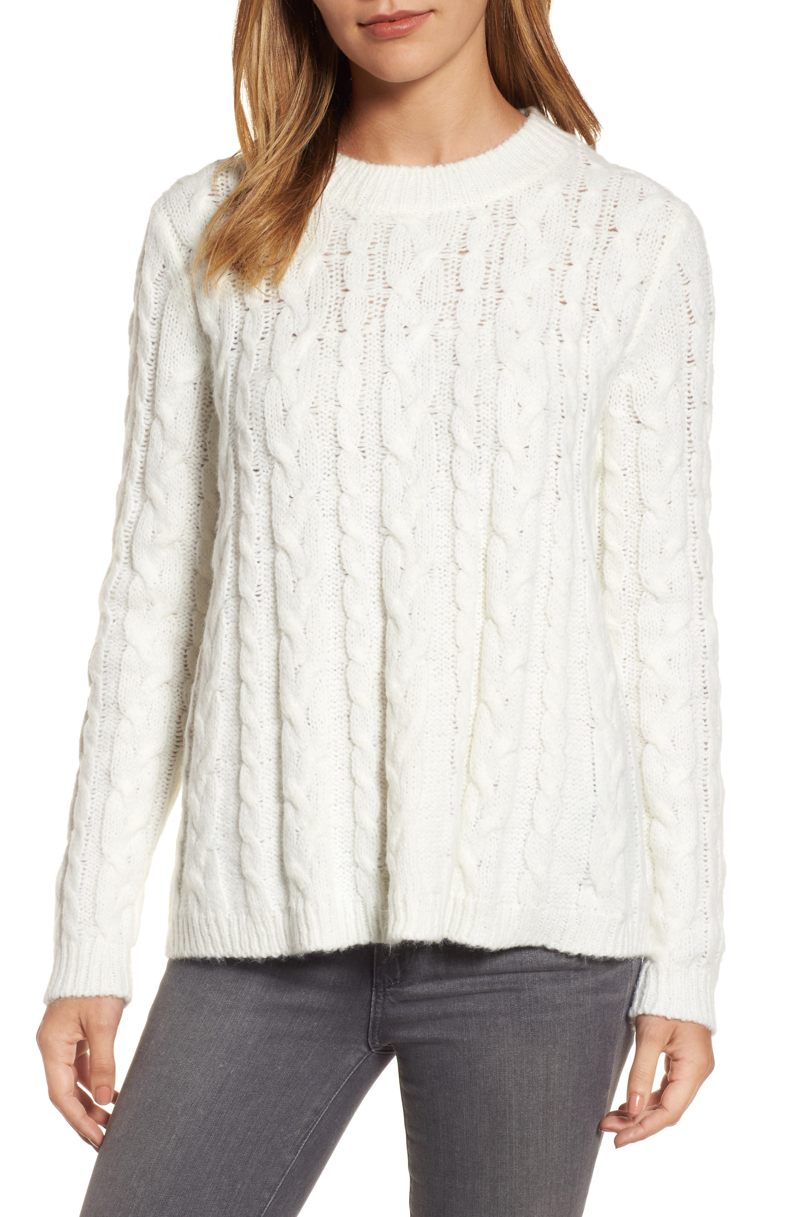 Trapeze Fit Cable Knit Sweater,                         Main,                         color, Cream