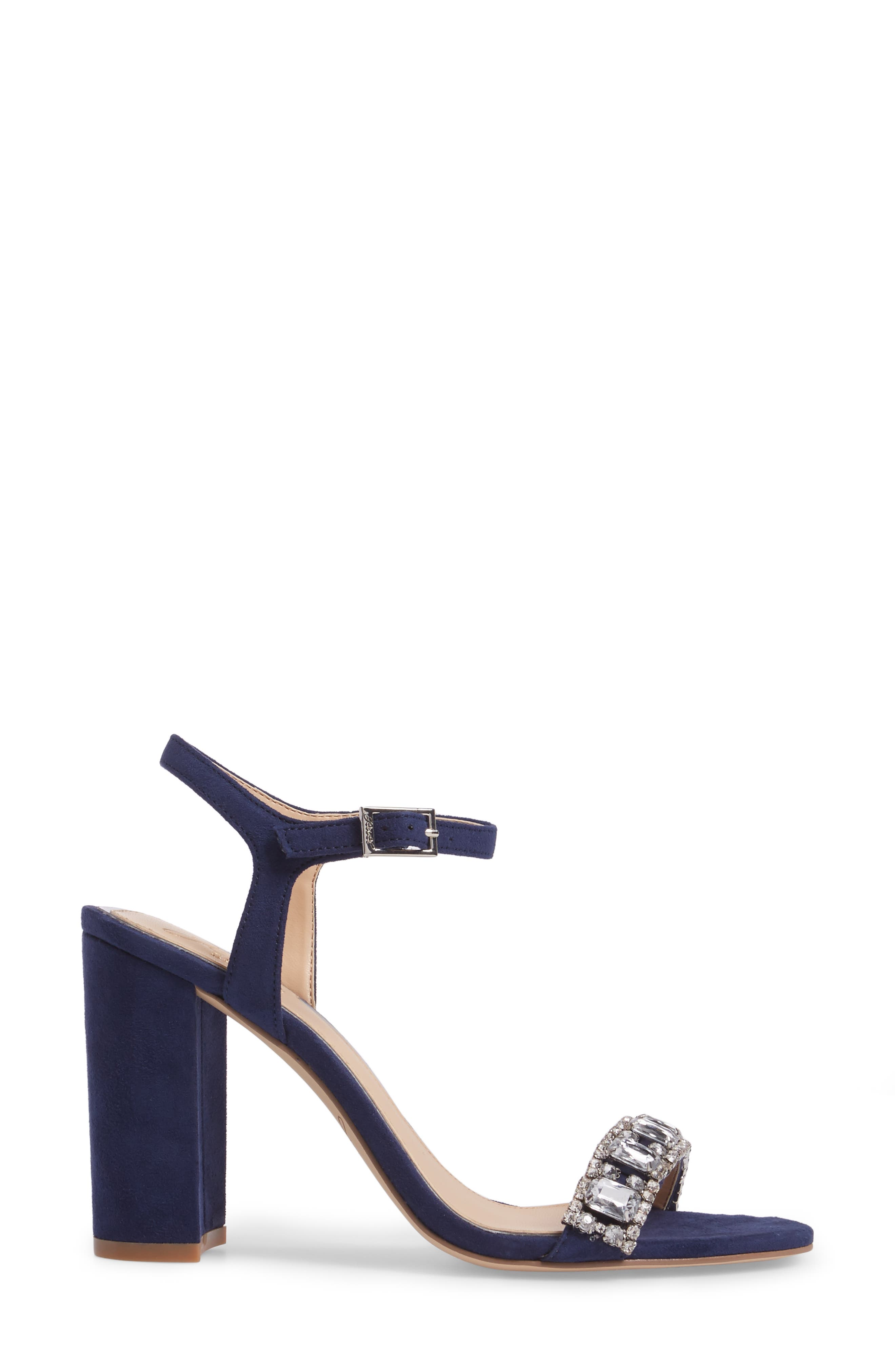 Hendricks Embellished Block Heel Sandal,                             Alternate thumbnail 3, color,                             Navy Suede