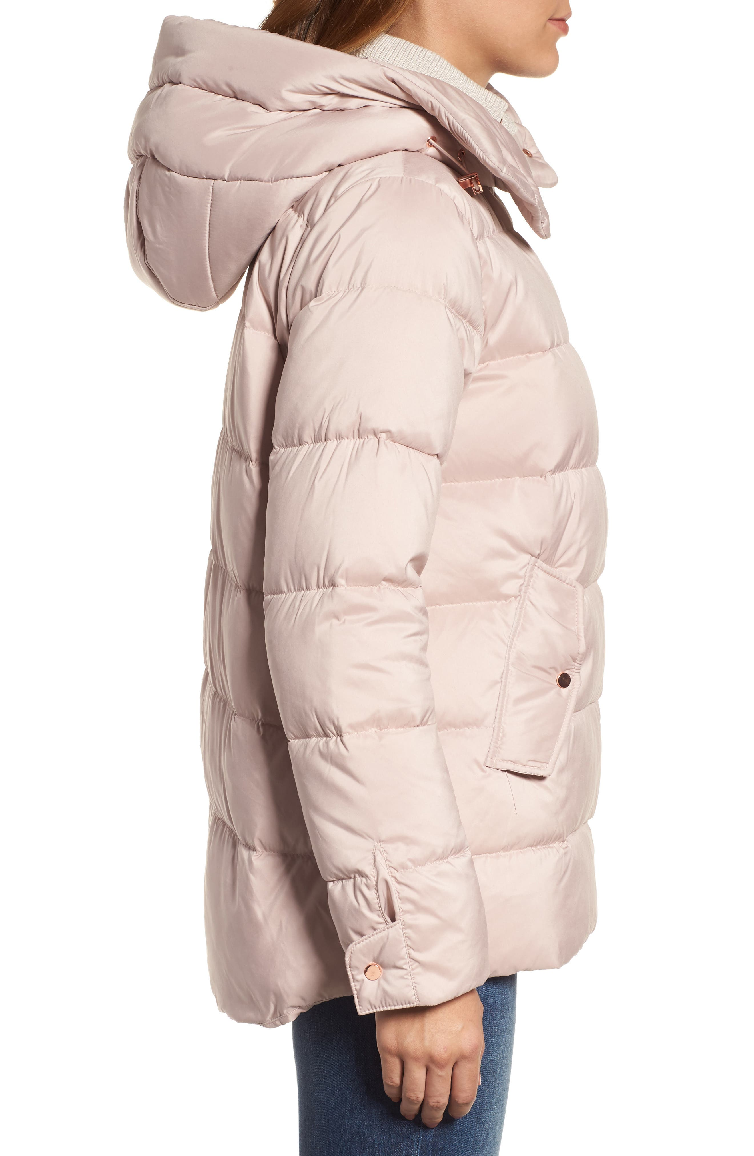 Hooded Puffer Jacket,                             Alternate thumbnail 4, color,                             Petal Pink