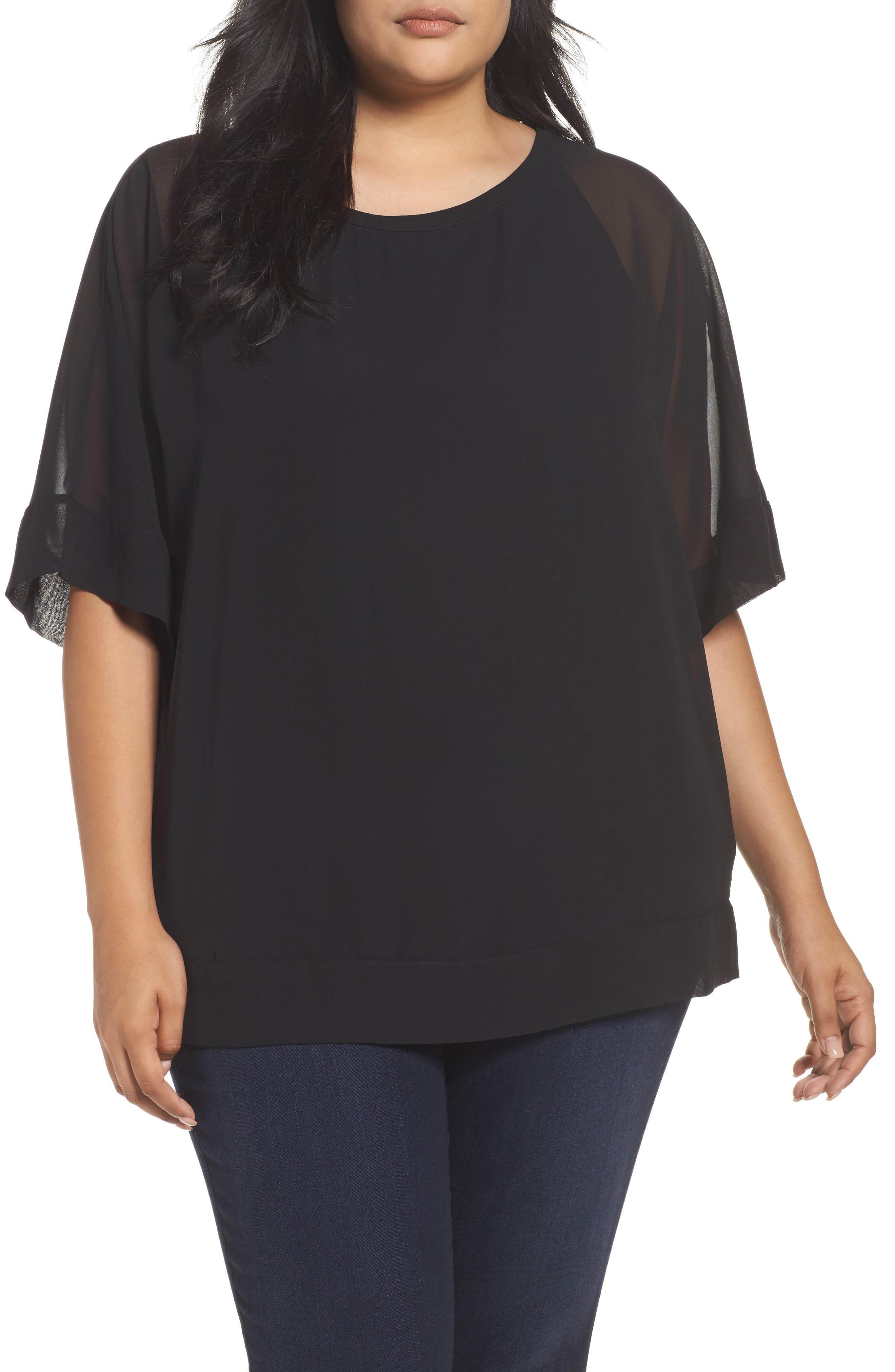 Alternate Image 1 Selected - Sejour Kimono Layered Top (Plus Size)
