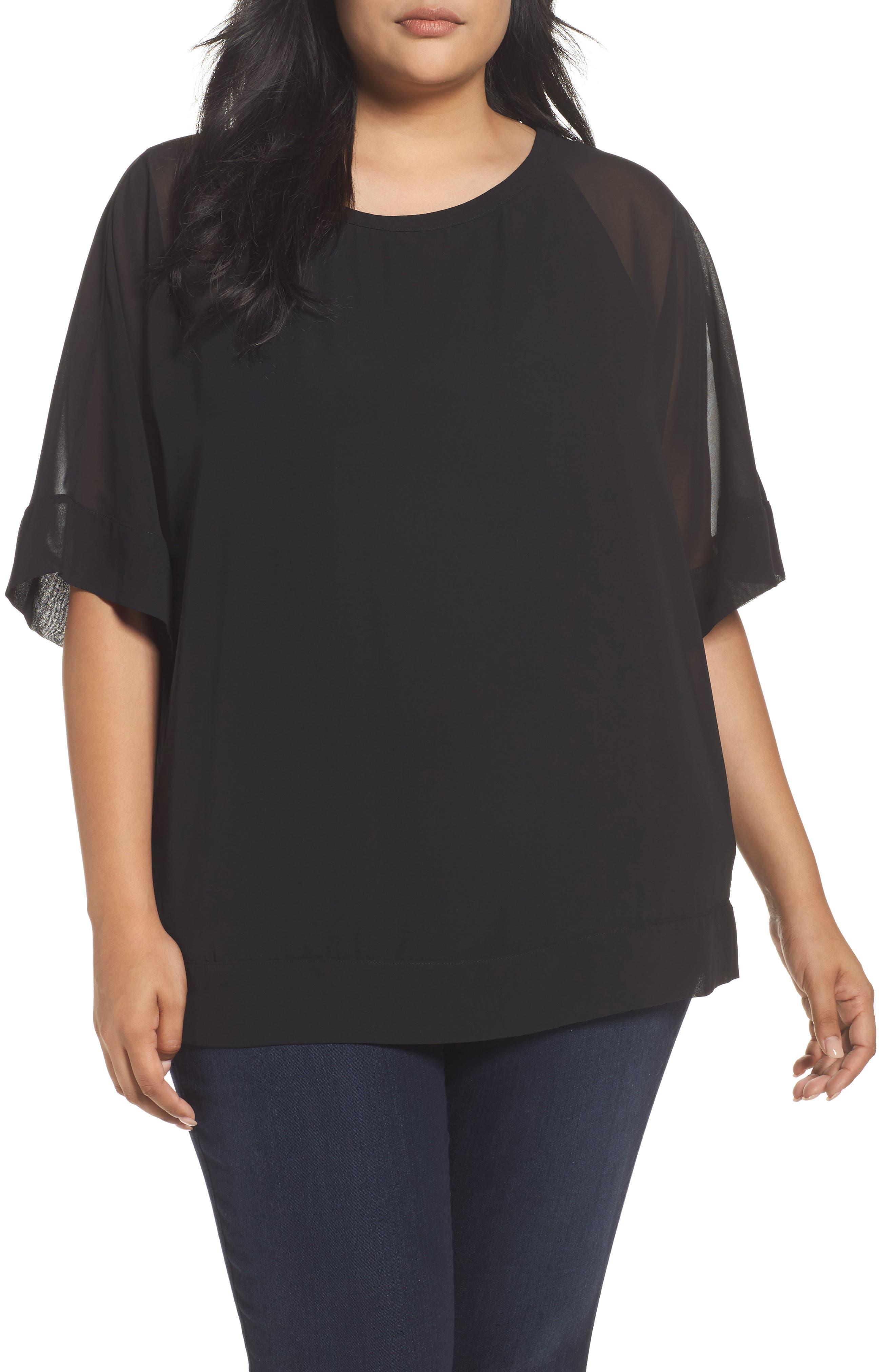 Main Image - Sejour Kimono Layered Top (Plus Size)