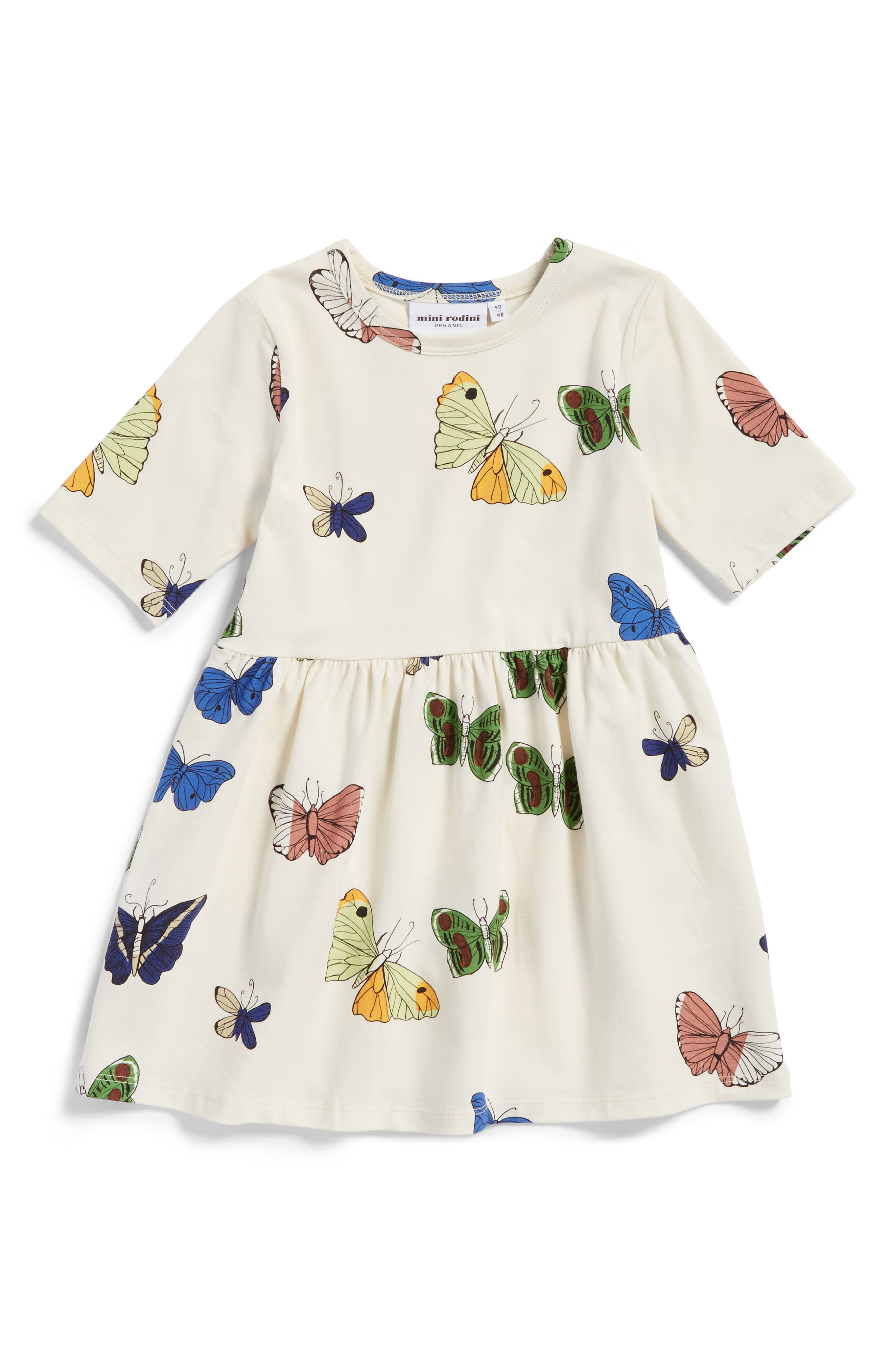 Butterflies Organic Cotton Dress,                             Main thumbnail 1, color,                             Off White