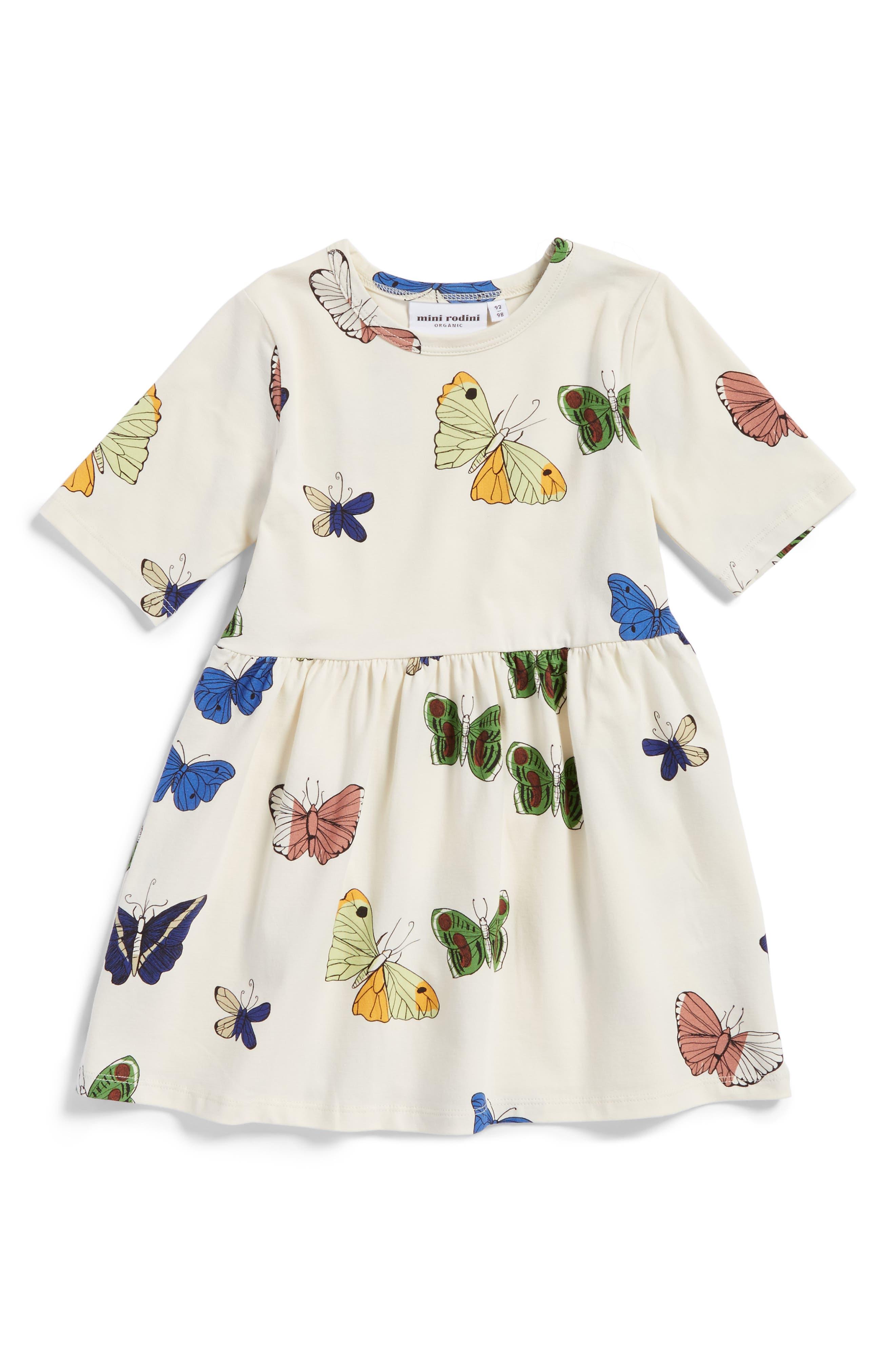 Main Image - Mini Rodini Butterflies Organic Cotton Dress (Toddler Girls & Little Girls)
