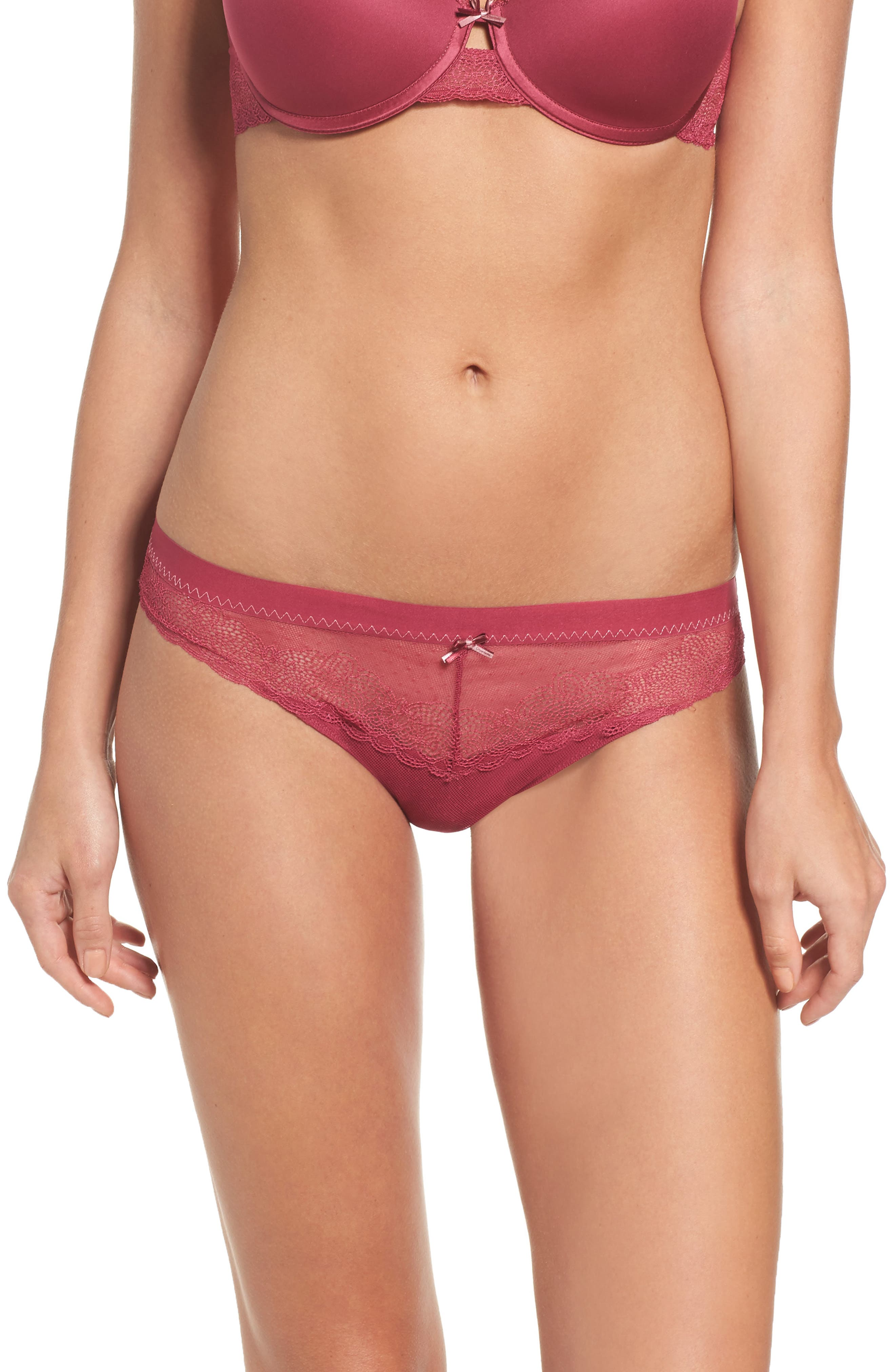 Le Marais Lace Cheeky Bikini,                         Main,                         color, Cranberry
