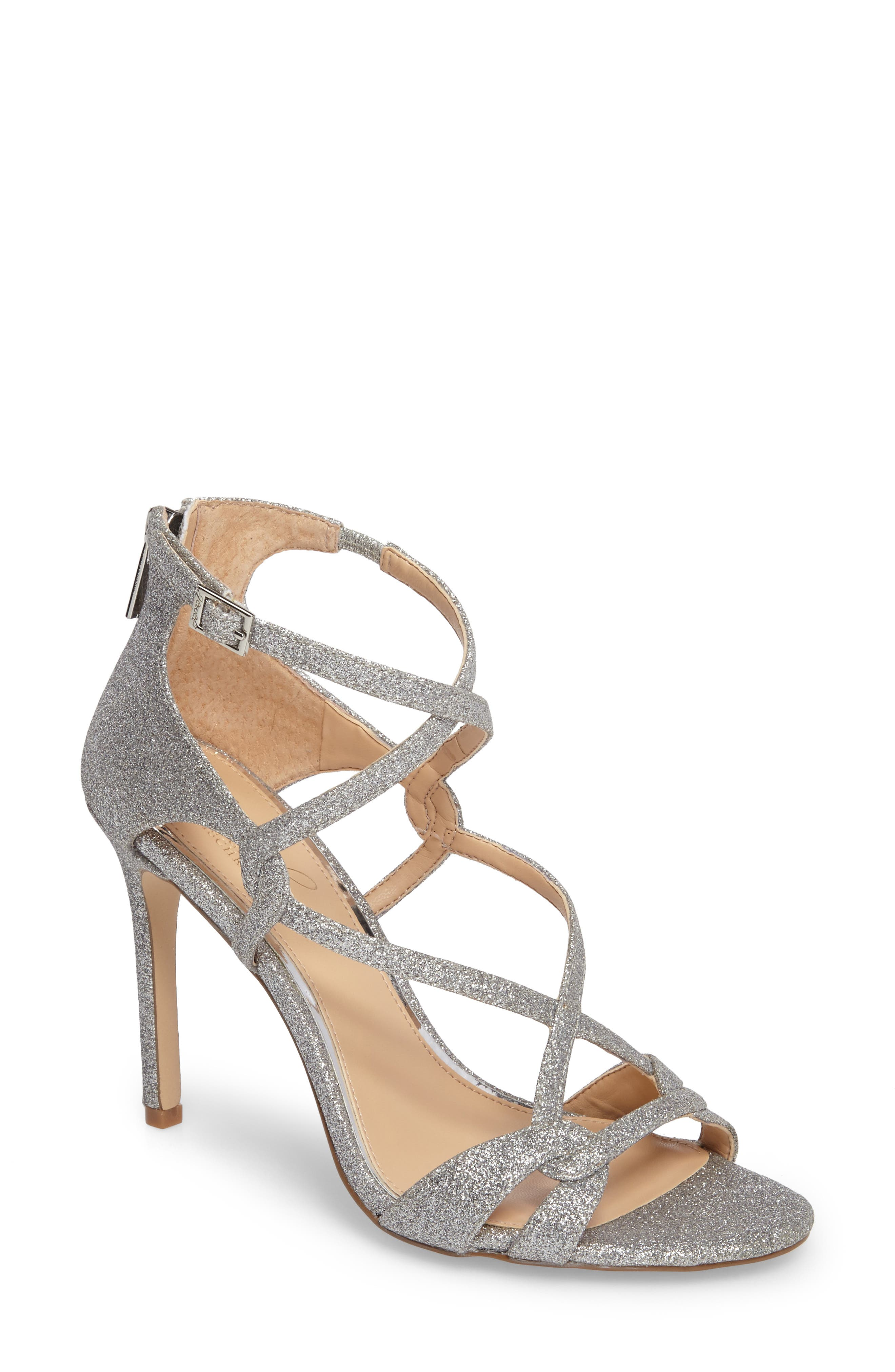 Main Image - Jewel Badgley Mischka Aliza Strappy Glitter Sandal (Women)