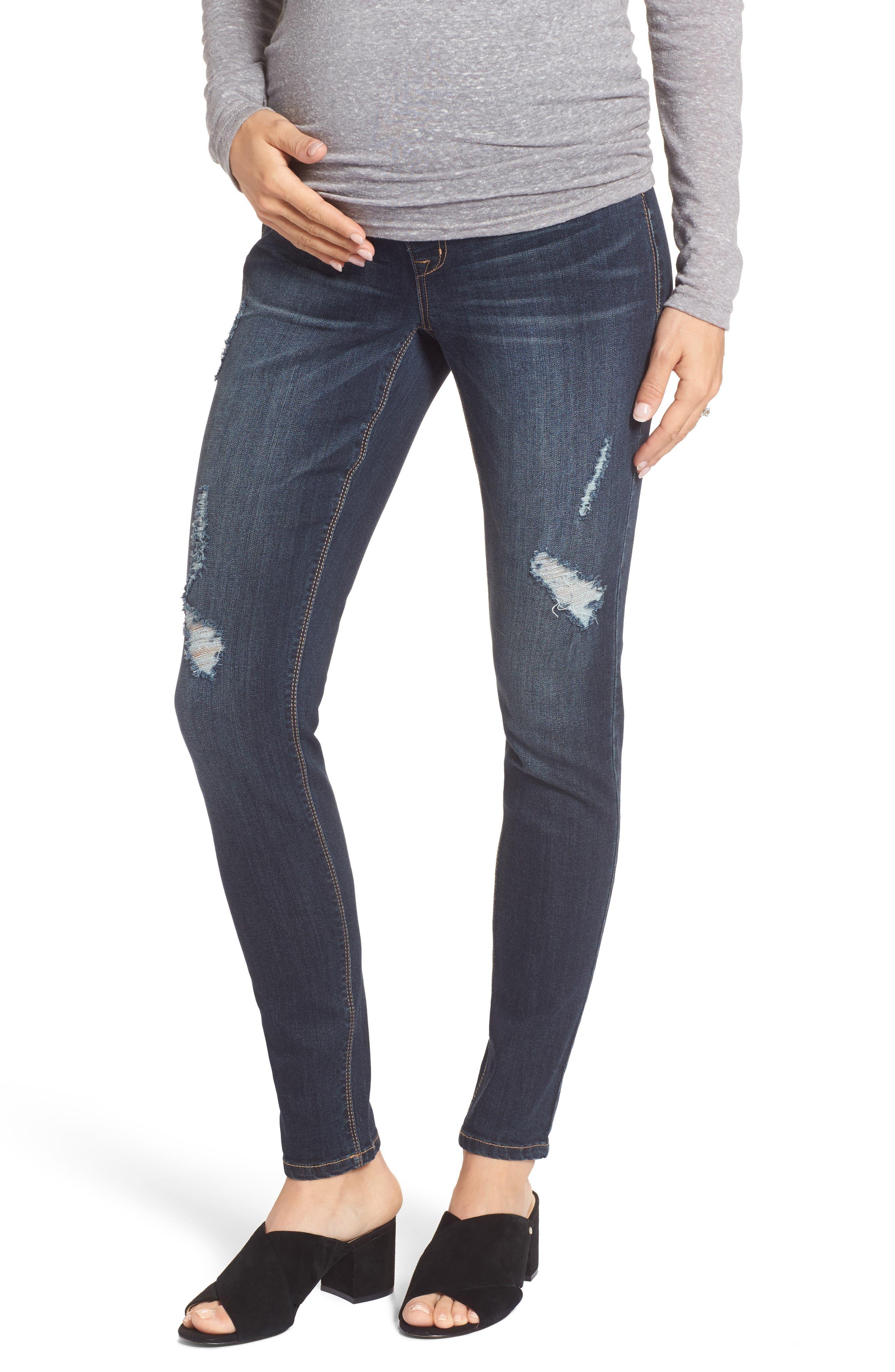 Alternate Image 1 Selected - 1822 Denim Destructed Maternity Skinny Jeans (Hazel)
