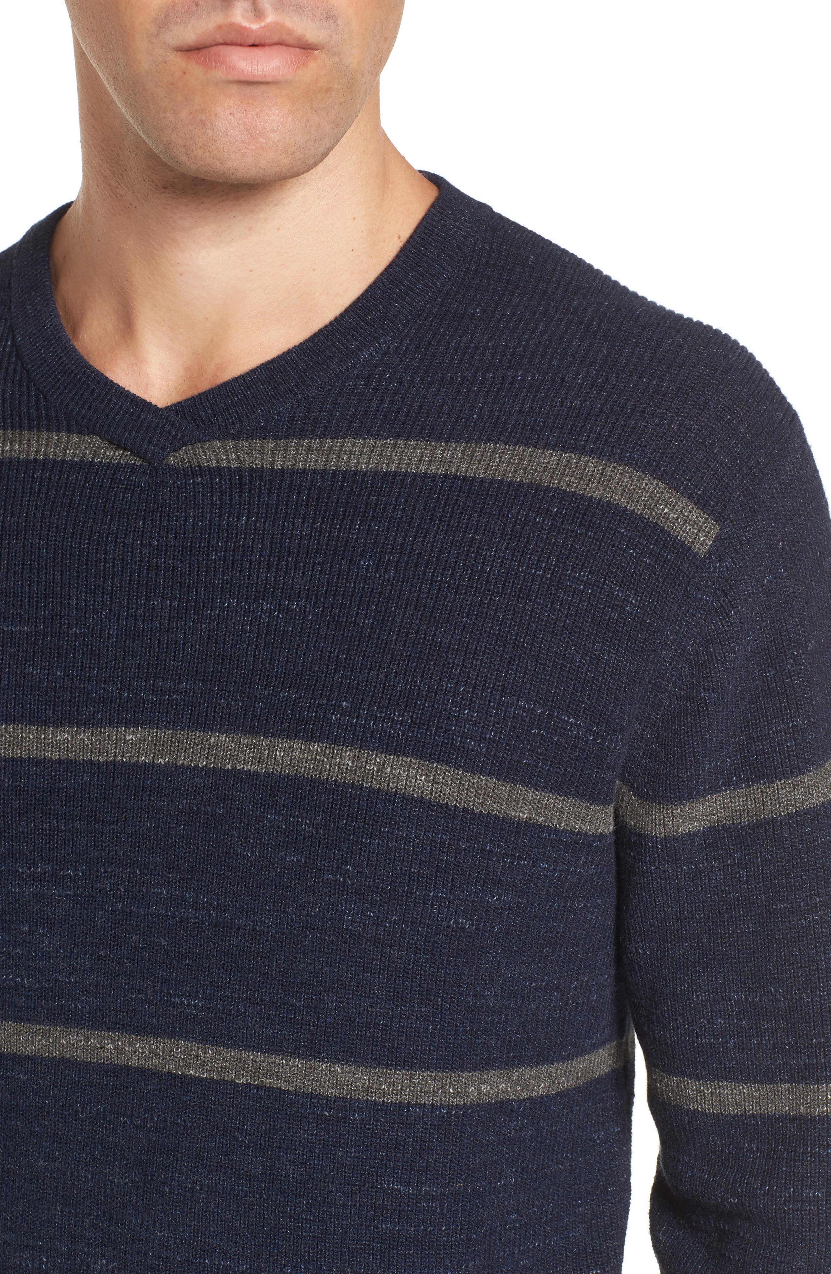 Ardsley Stripe V-Neck Sweater,                             Alternate thumbnail 4, color,                             Navy/Light Charcoal