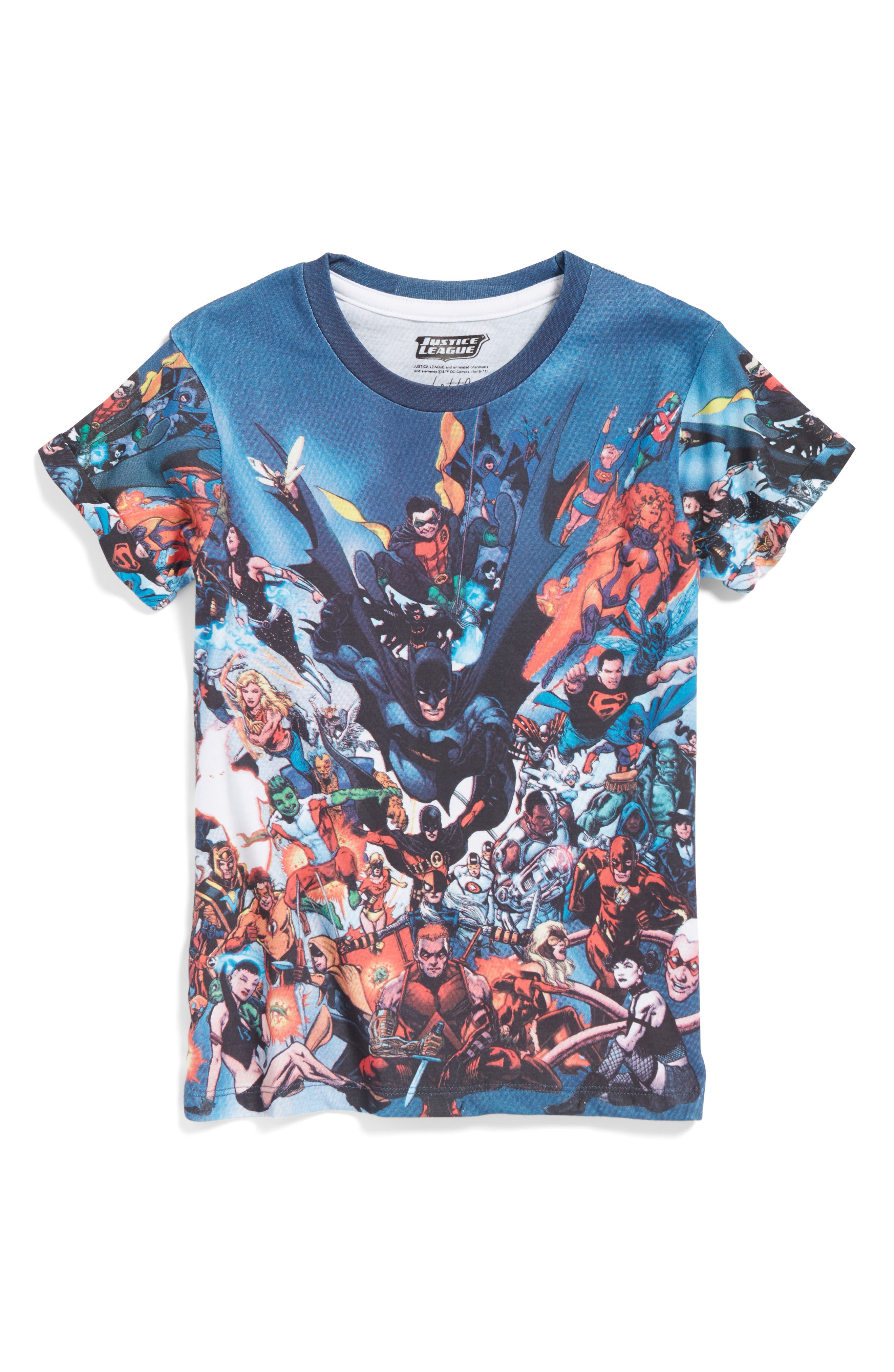 Justice League Superhero T-Shirt,                             Main thumbnail 1, color,                             Multi