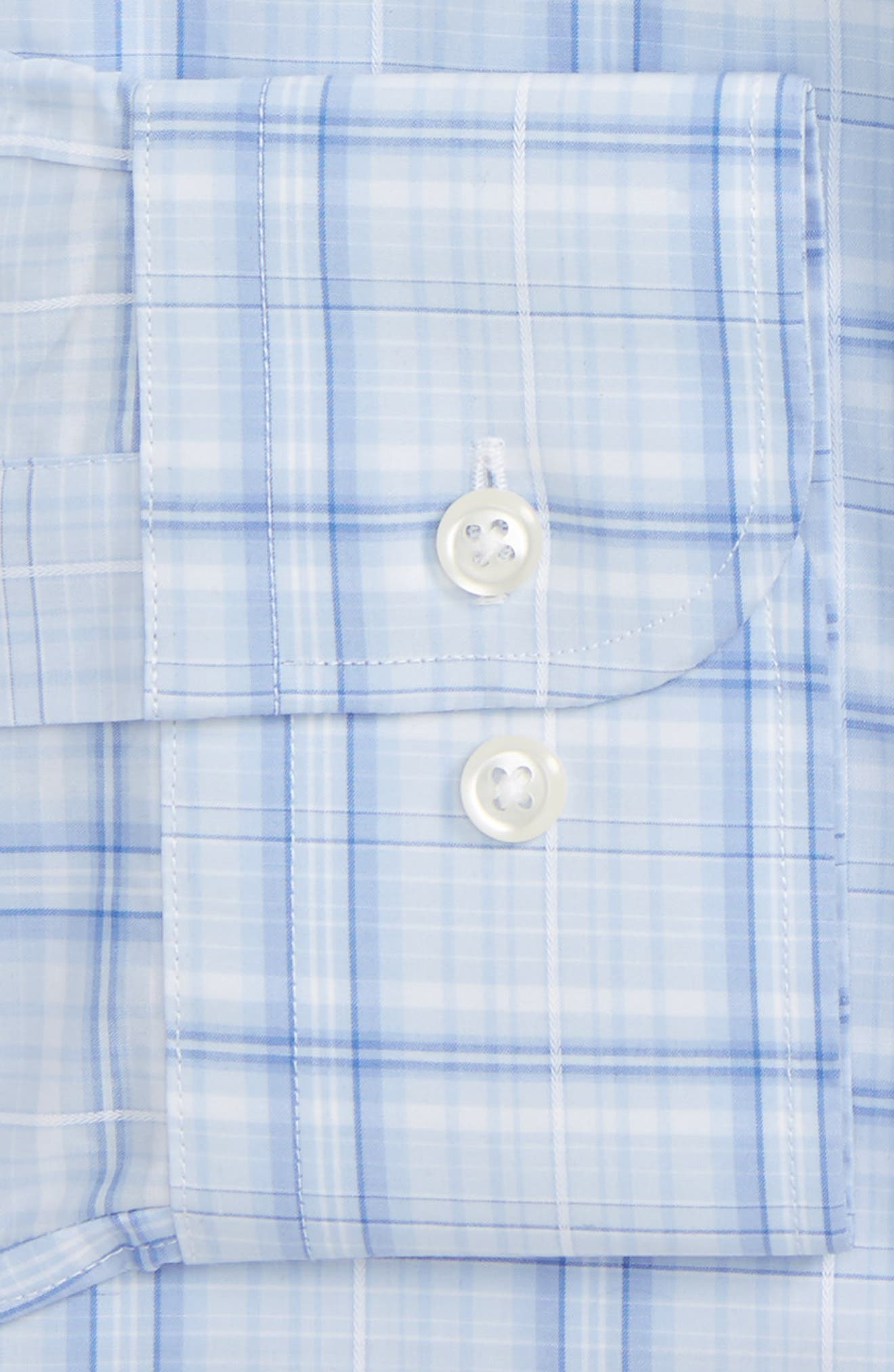Trim Fit Plaid Dress Shirt,                             Alternate thumbnail 2, color,                             Blue Stork
