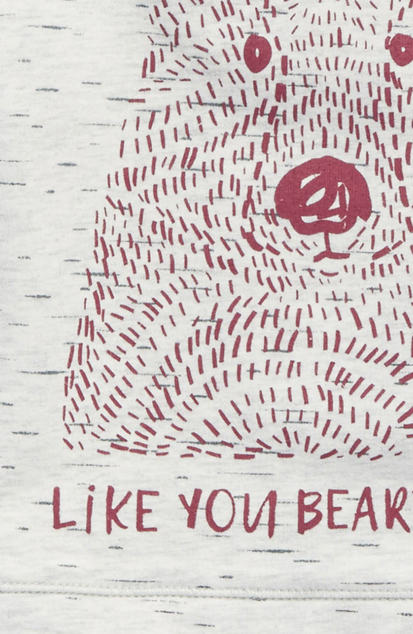 Like You Beary Much Graphic Tee,                             Alternate thumbnail 3, color,                             Heather Grey