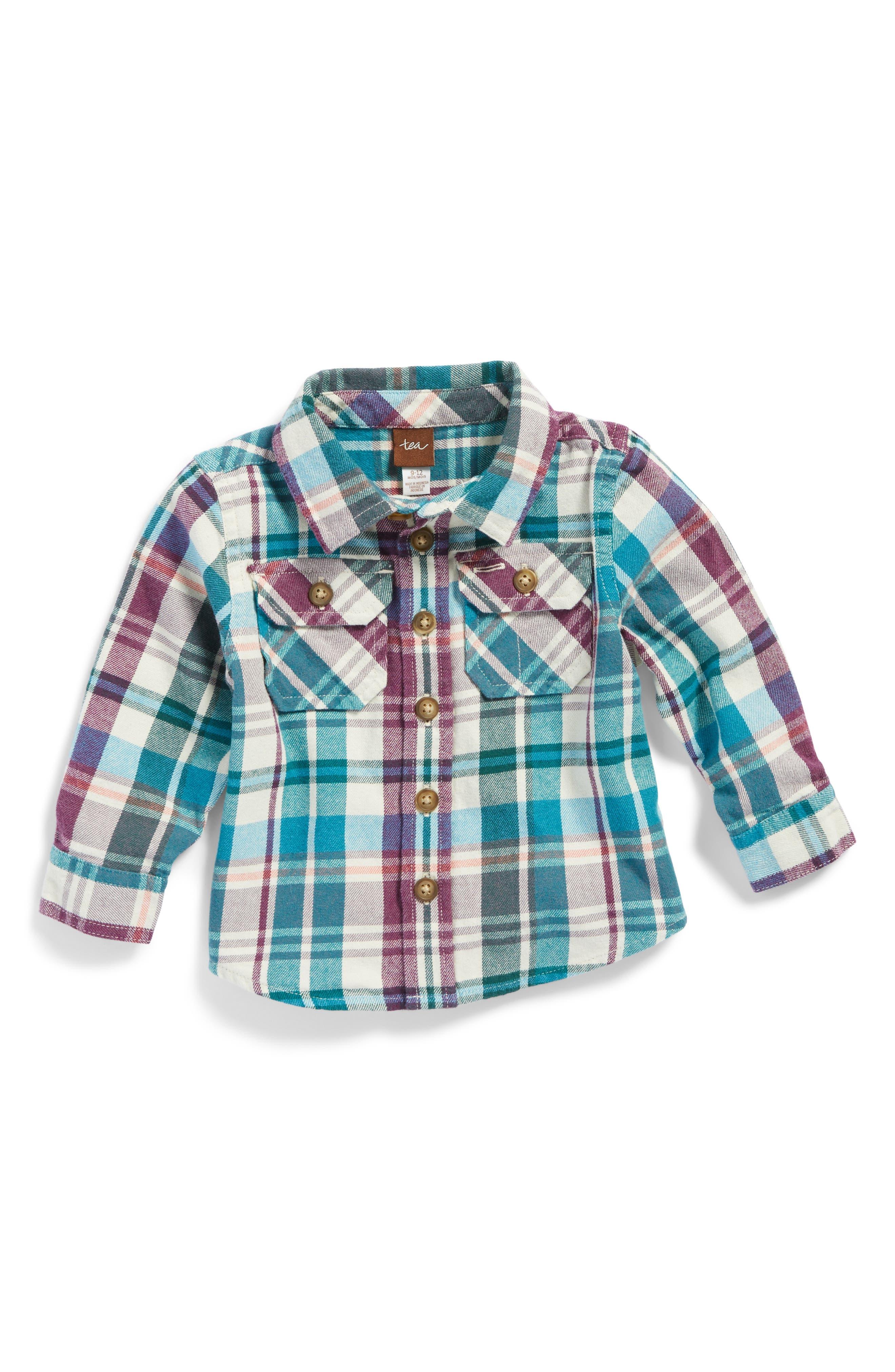 Main Image - Tea Collection Beaufort Plaid Flannel Shirt (Baby Boys)