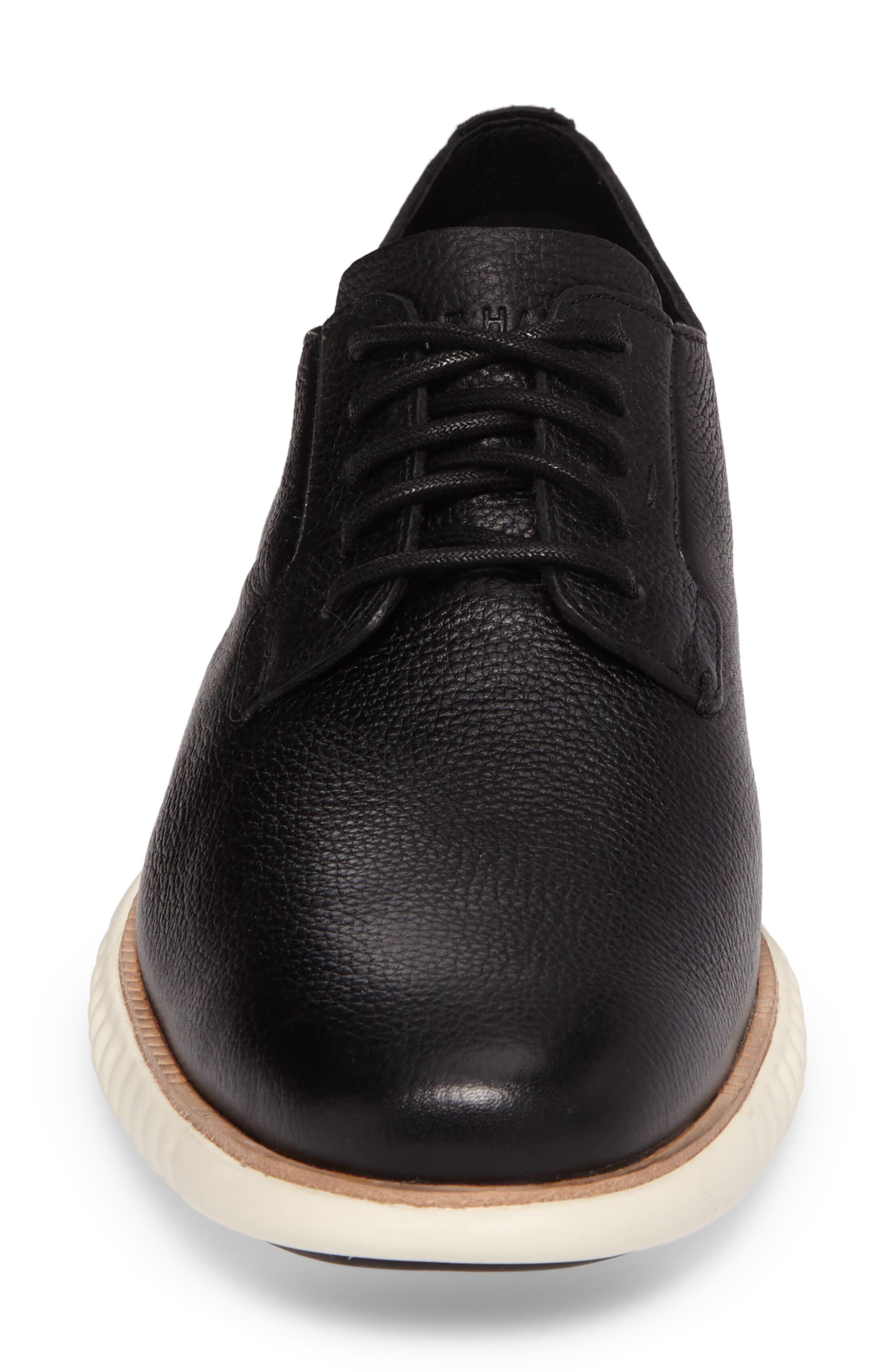 2.ZeroGrand Plain Toe Derby,                             Alternate thumbnail 4, color,                             Black/ Ivory Leather