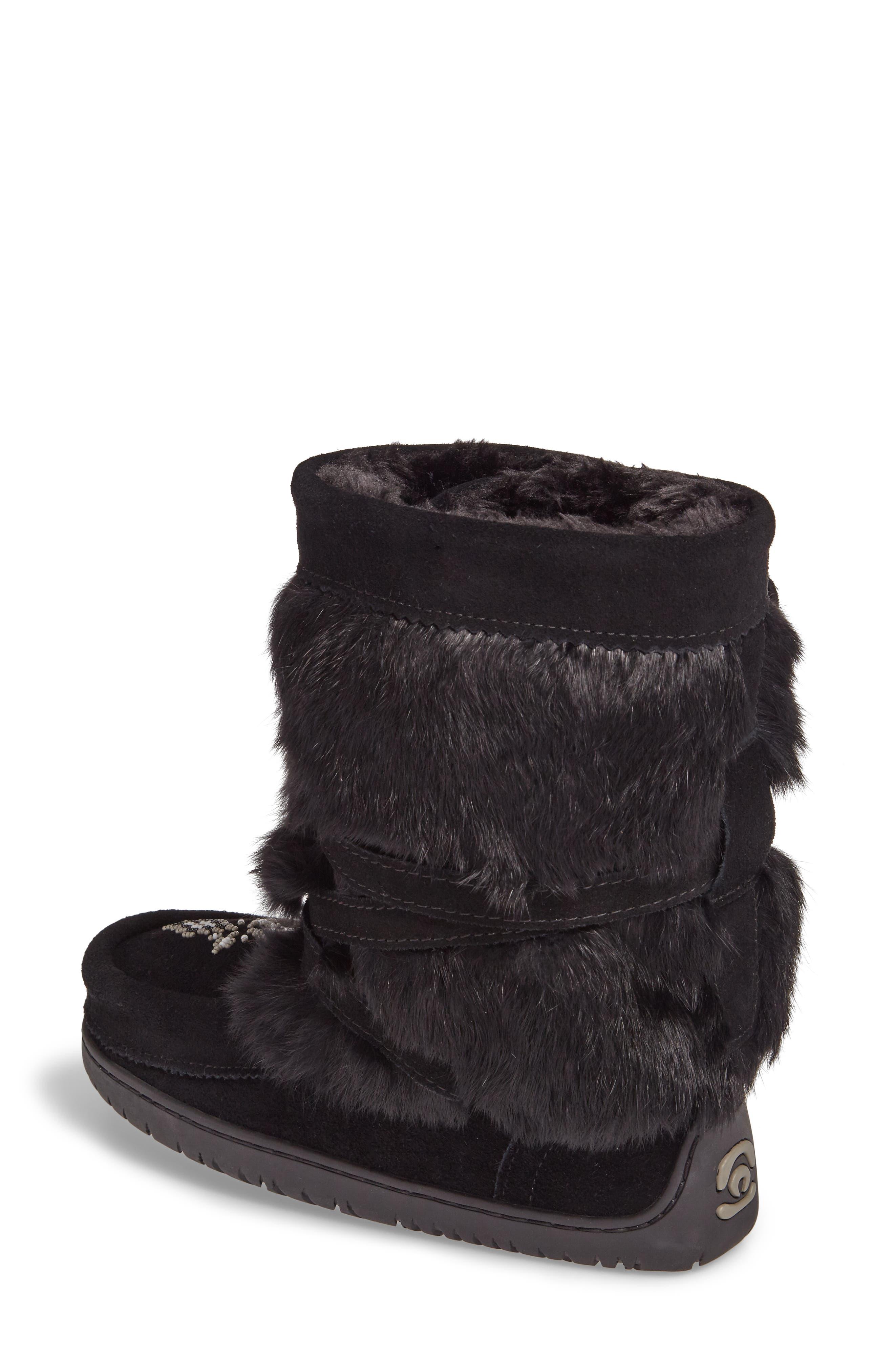 Beaded Short Wrap Genuine Rabbit Fur & Shearling Boot,                             Alternate thumbnail 2, color,                             Black Rabbit Fur