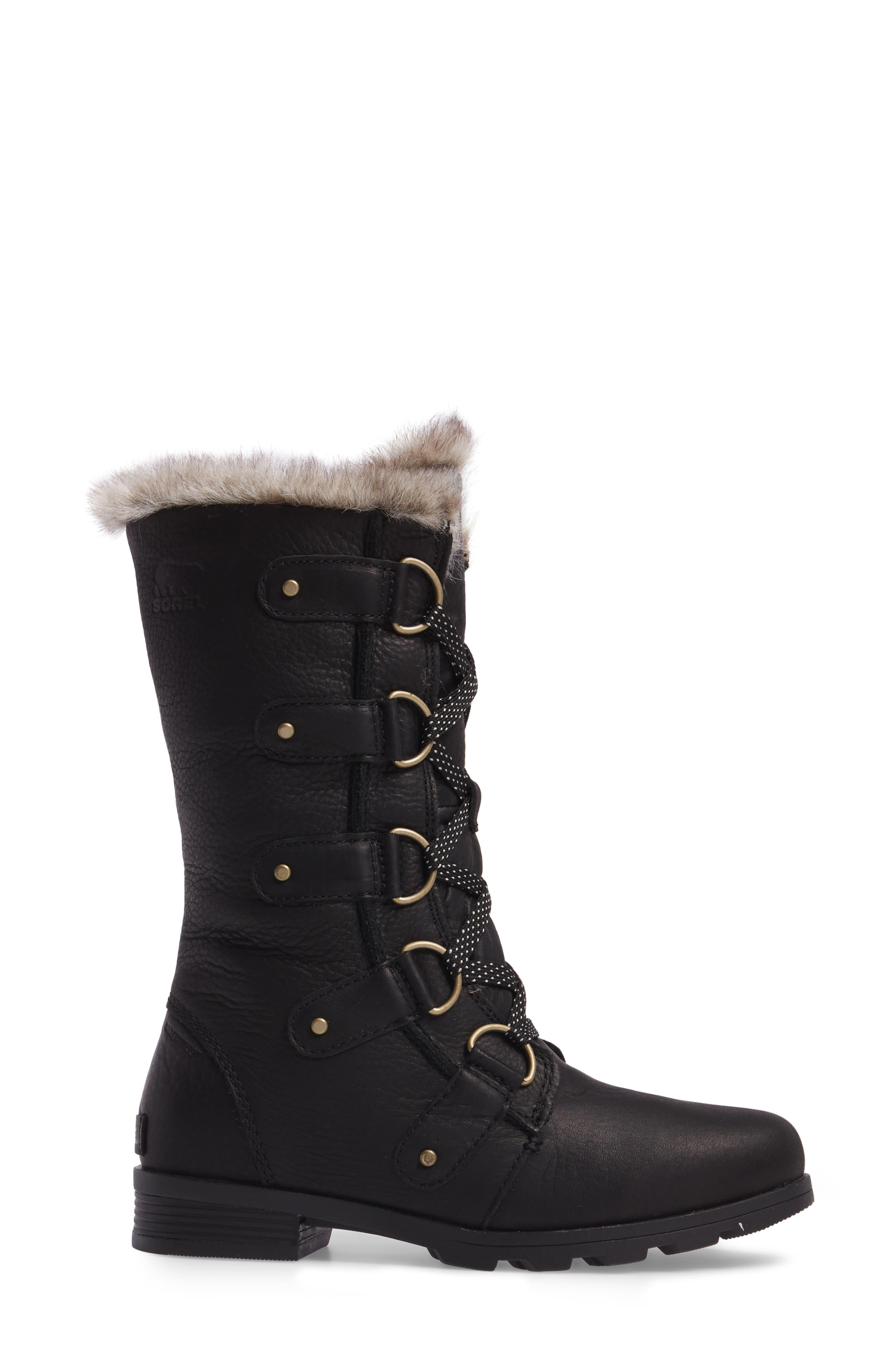 Emelie Waterproof Lace Up Boot with Faux Fur Trim,                             Alternate thumbnail 3, color,                             Black