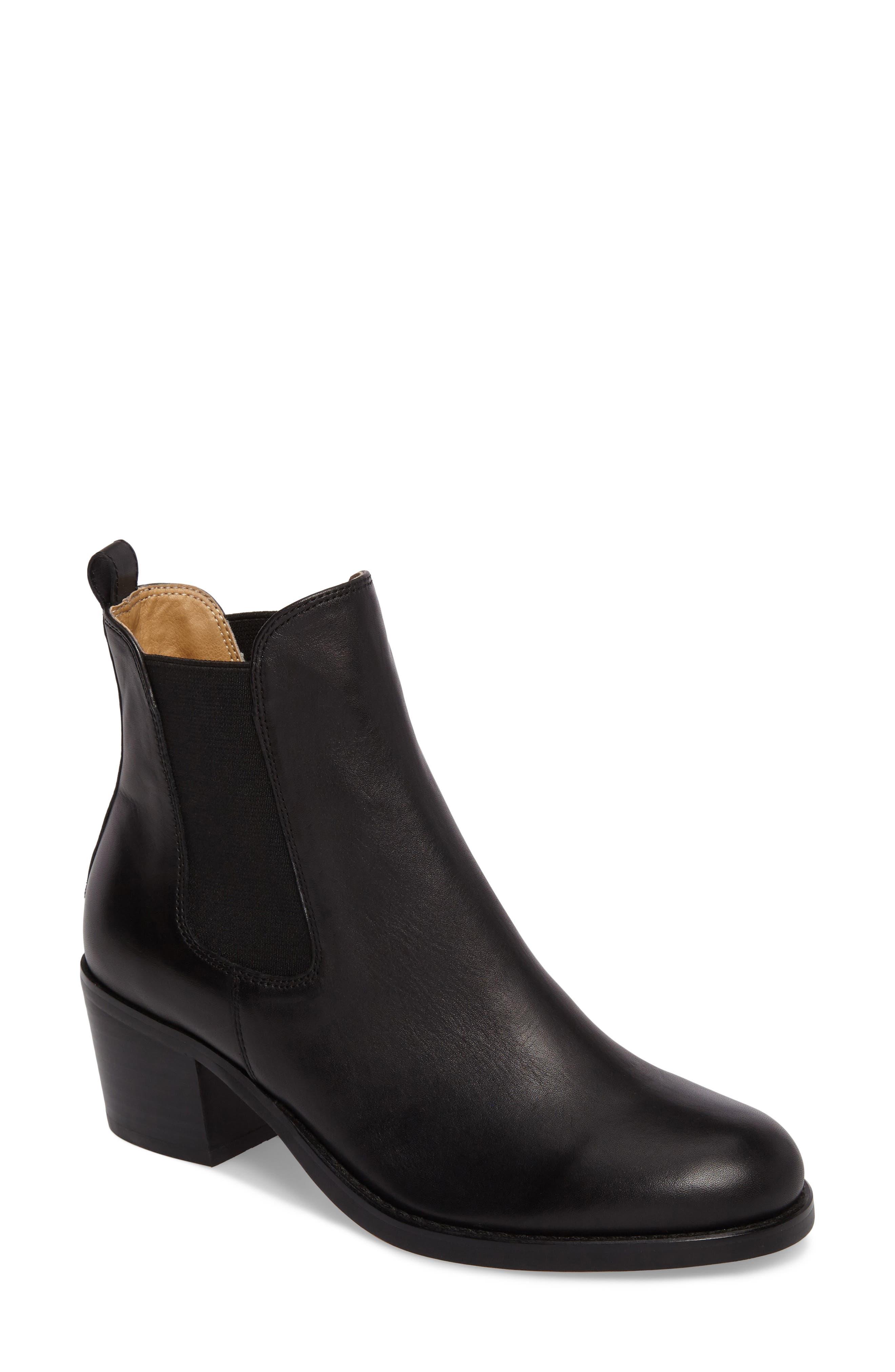 Joshua Block Heel Bootie,                             Main thumbnail 1, color,                             Black Albany Leather