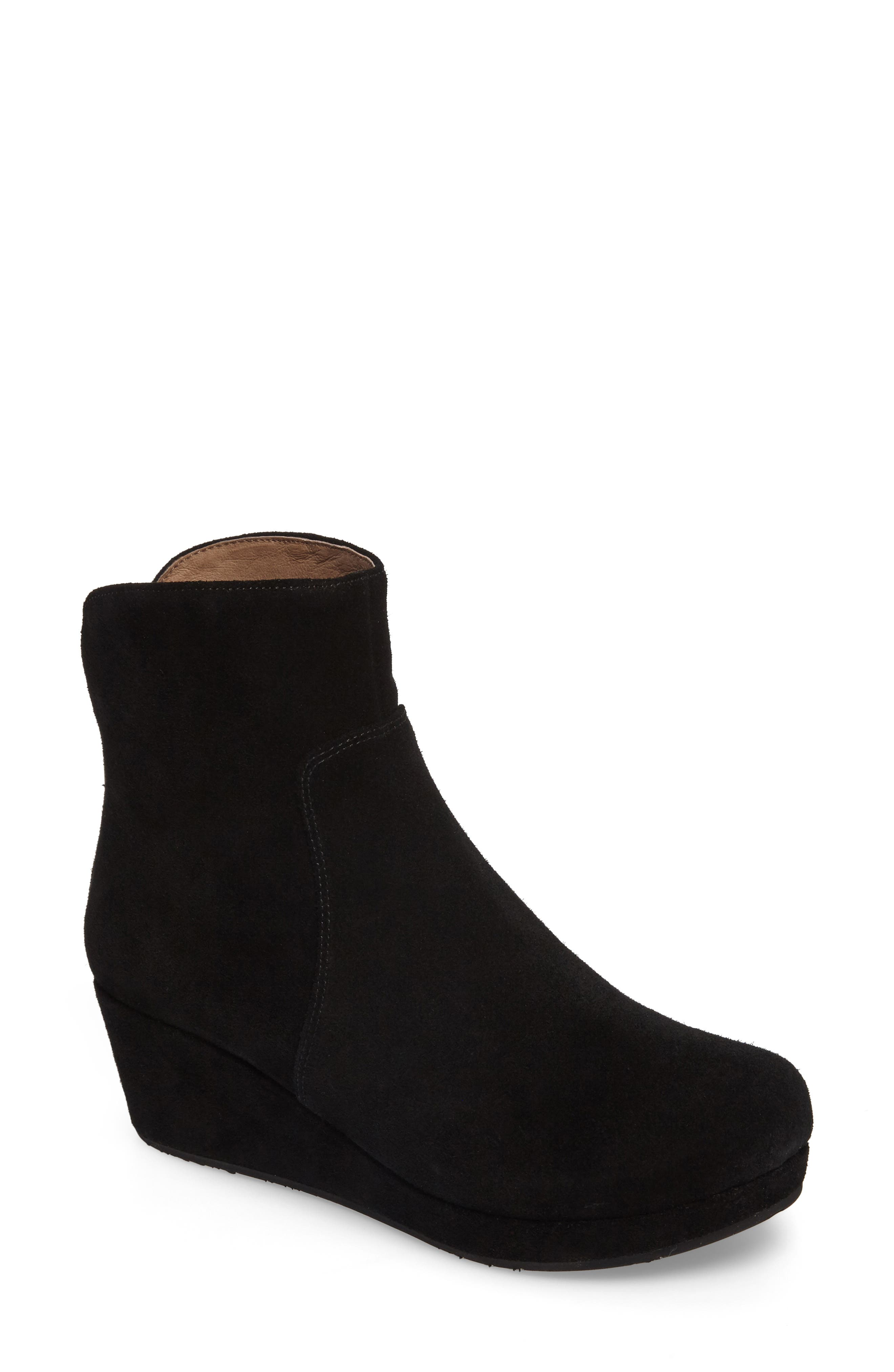 Yarden Wedge Bootie,                             Main thumbnail 1, color,                             Black Suede