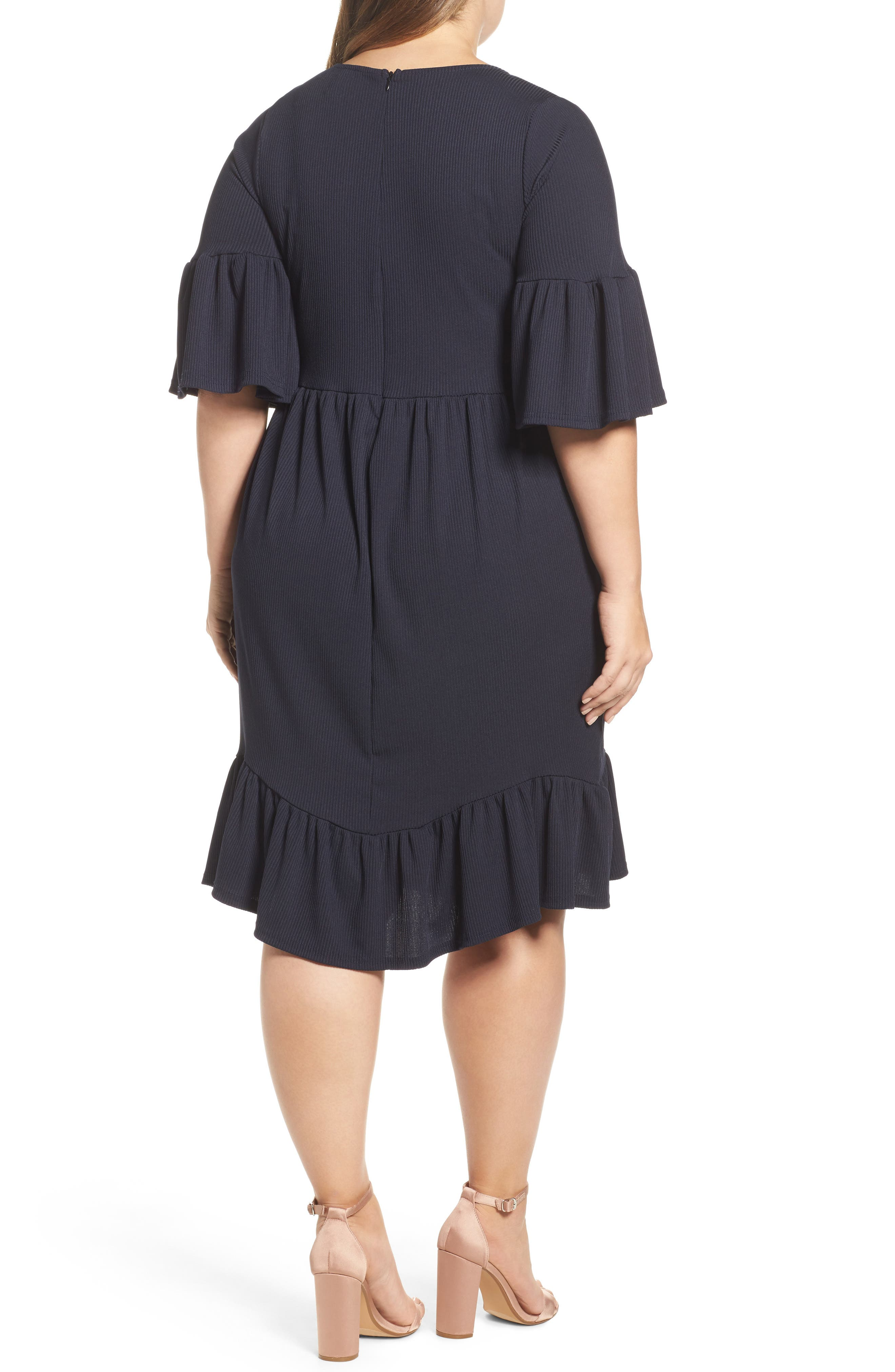 Alternate Image 3  - LOST INK Ruffle Ribbed Knit Dress (Plus Size)