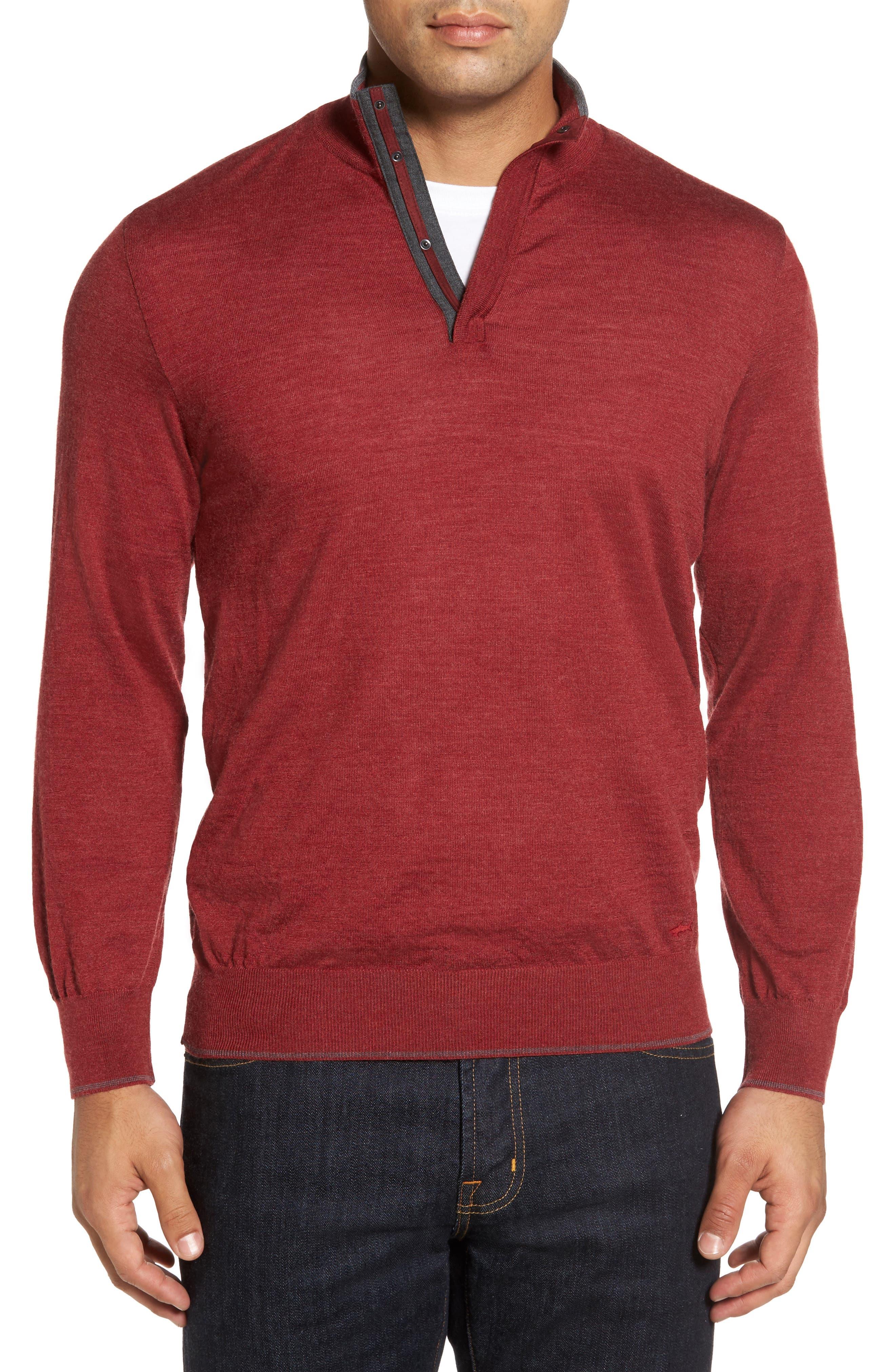 Paul & Shark Stand Collar Henley Sweater