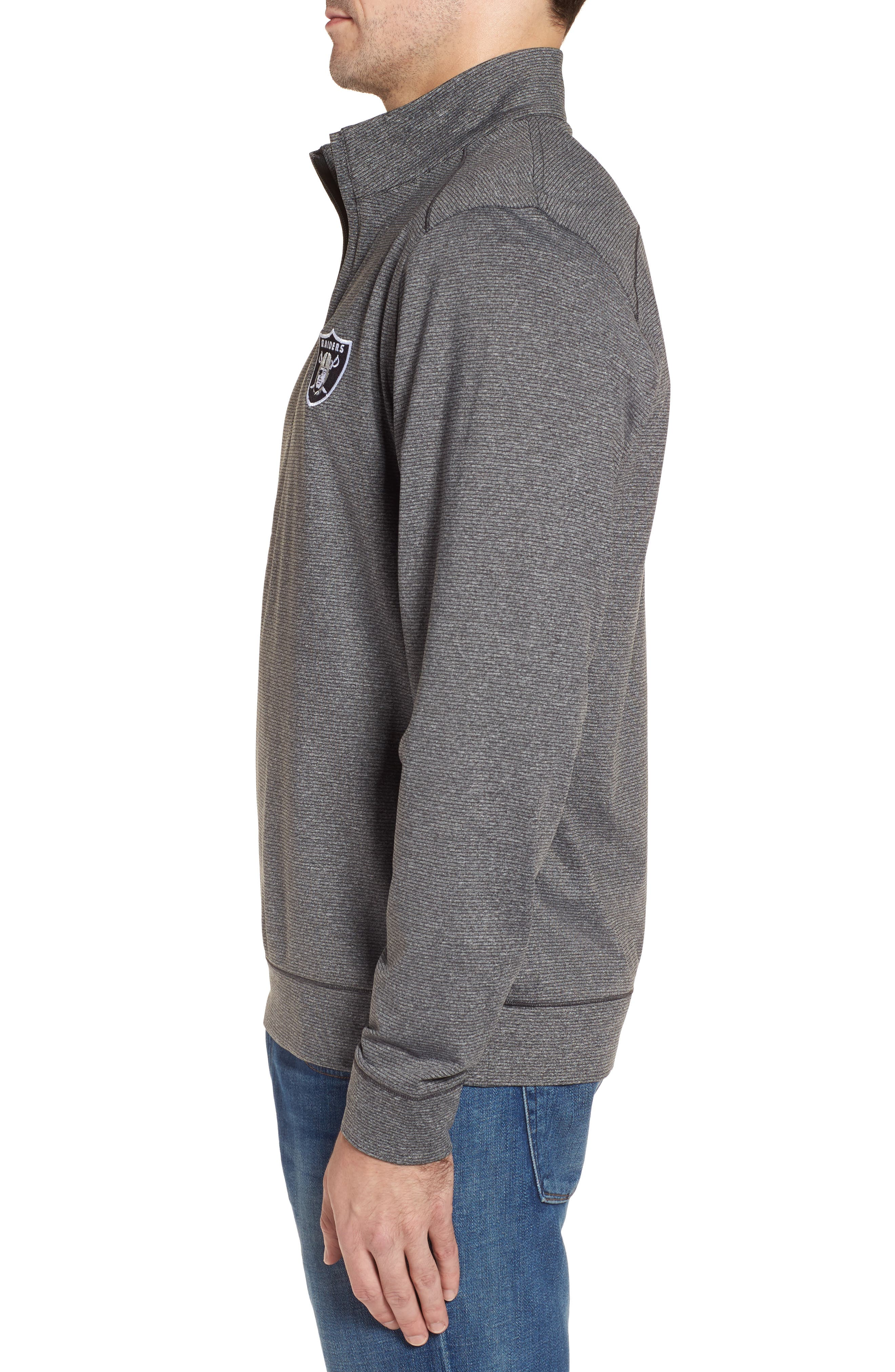 Shoreline - Oakland Raiders Half Zip Pullover,                             Alternate thumbnail 3, color,                             Charcoal Heather