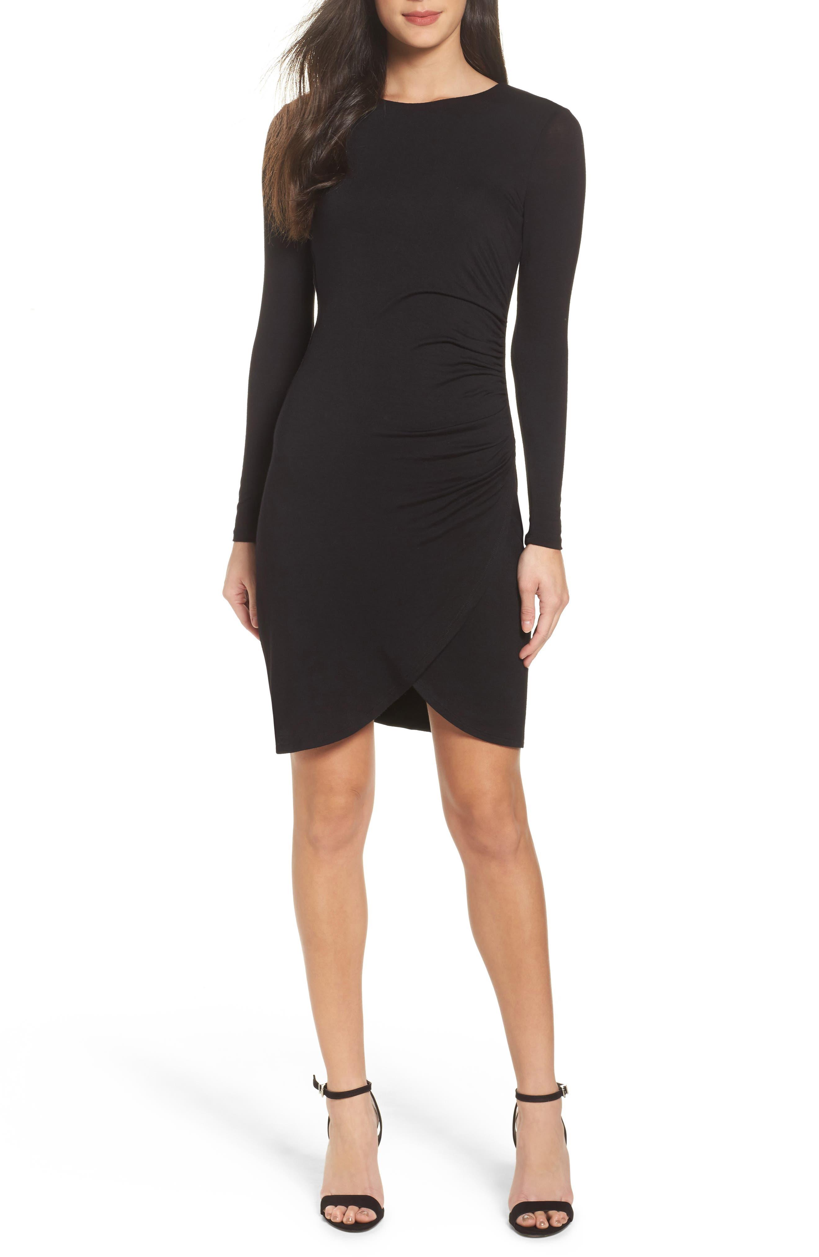 Knit Tulip Hem Dress,                             Main thumbnail 1, color,                             Black