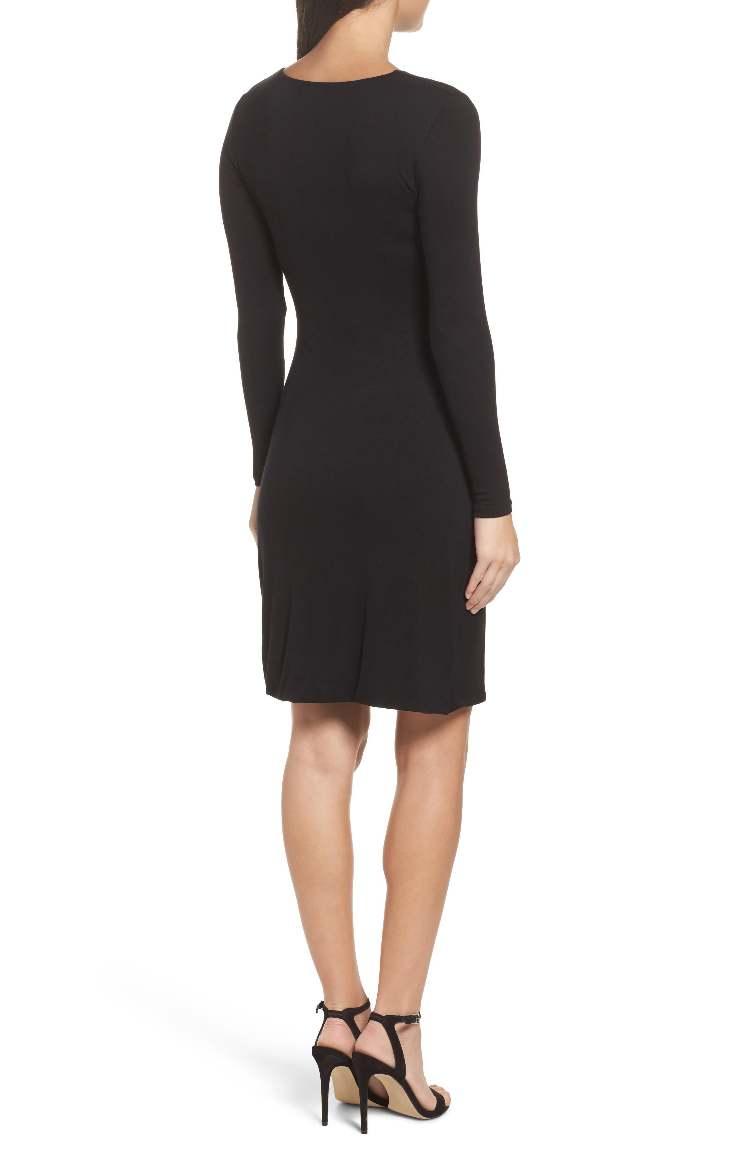 Knit Tulip Hem Dress,                             Alternate thumbnail 2, color,                             Black