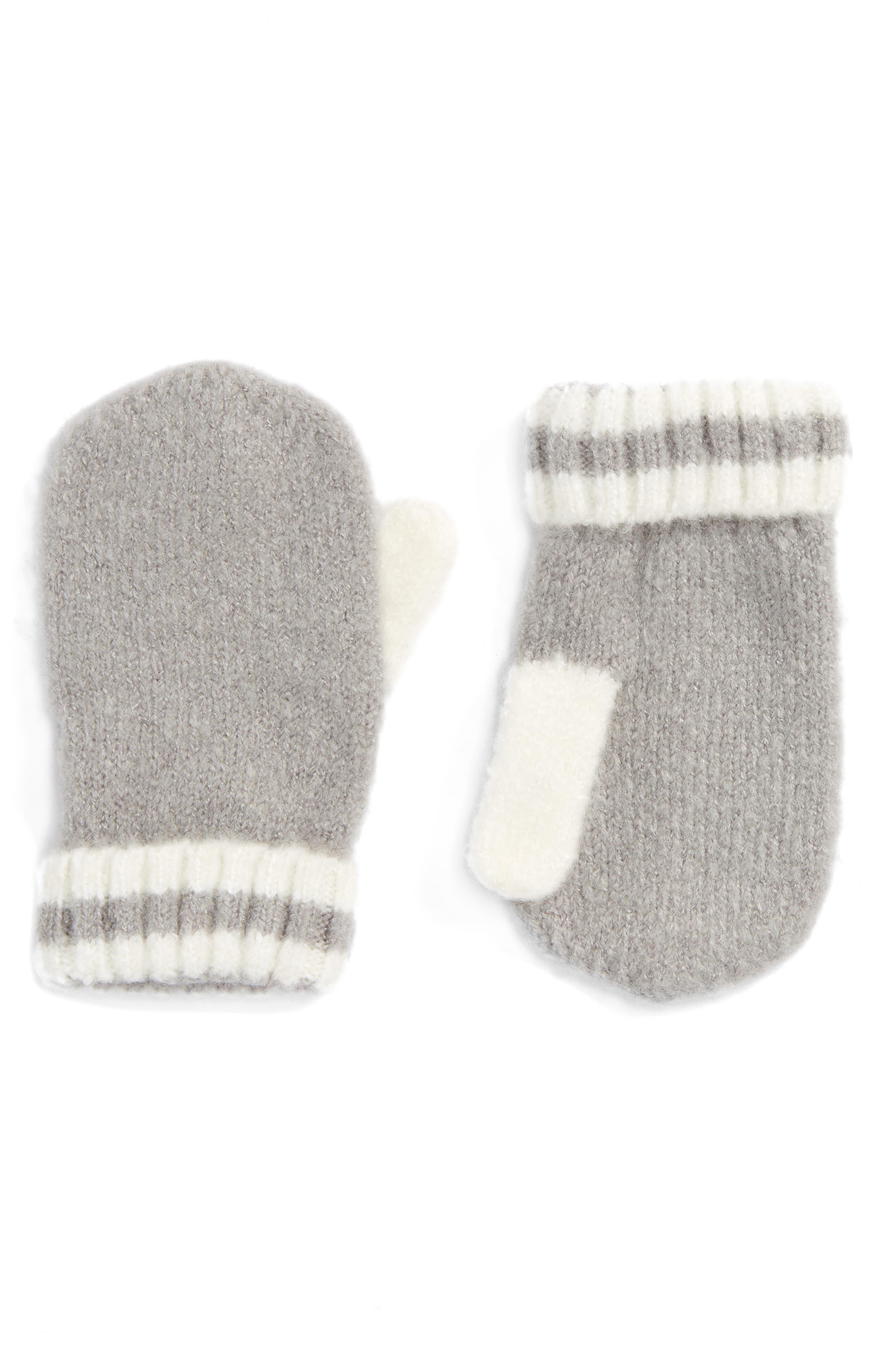 Stripe Cuff Mittens,                         Main,                         color, Grey Alloy