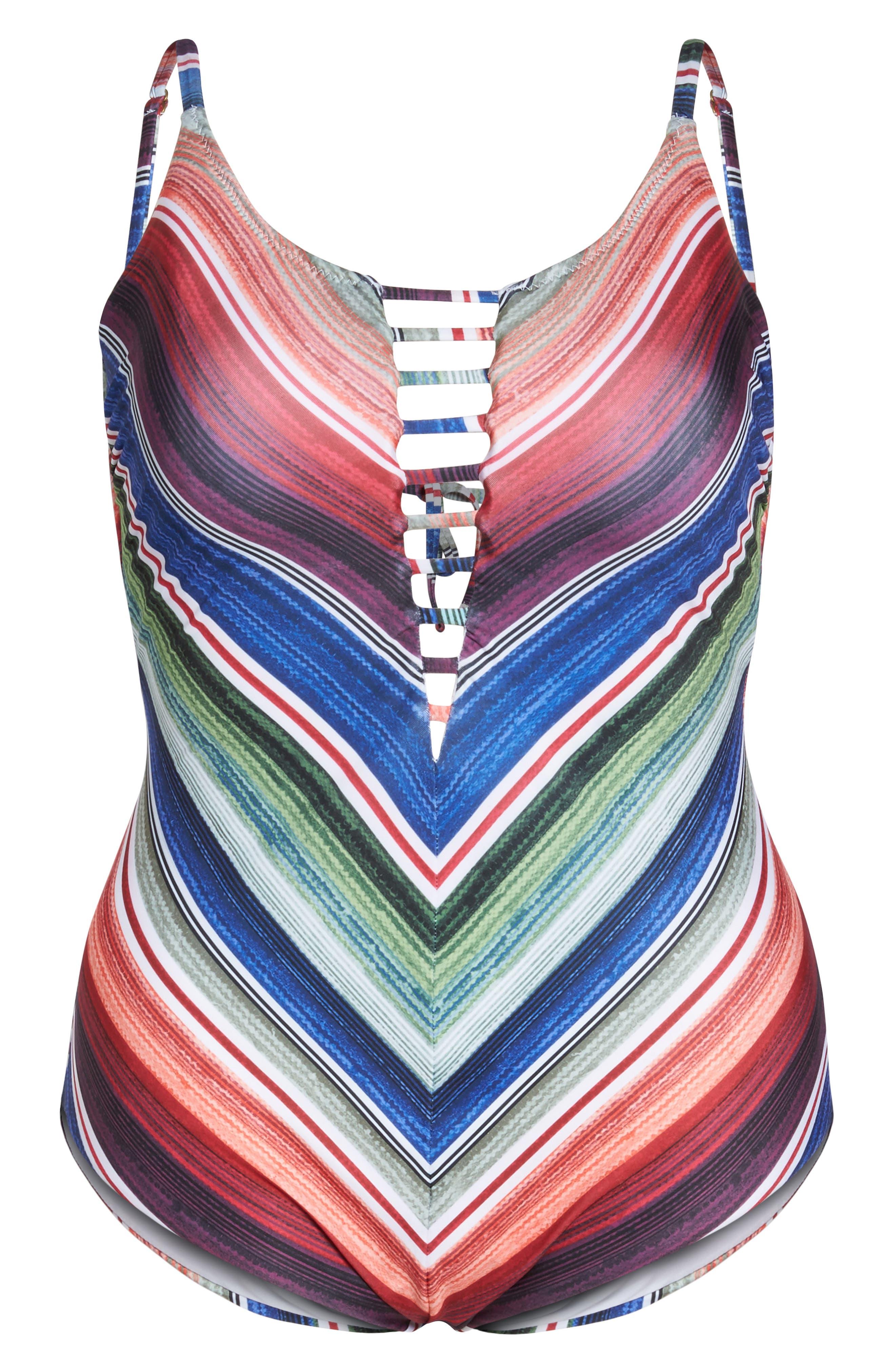 West Village One-Piece Swimsuit,                             Alternate thumbnail 6, color,                             Blue Multi