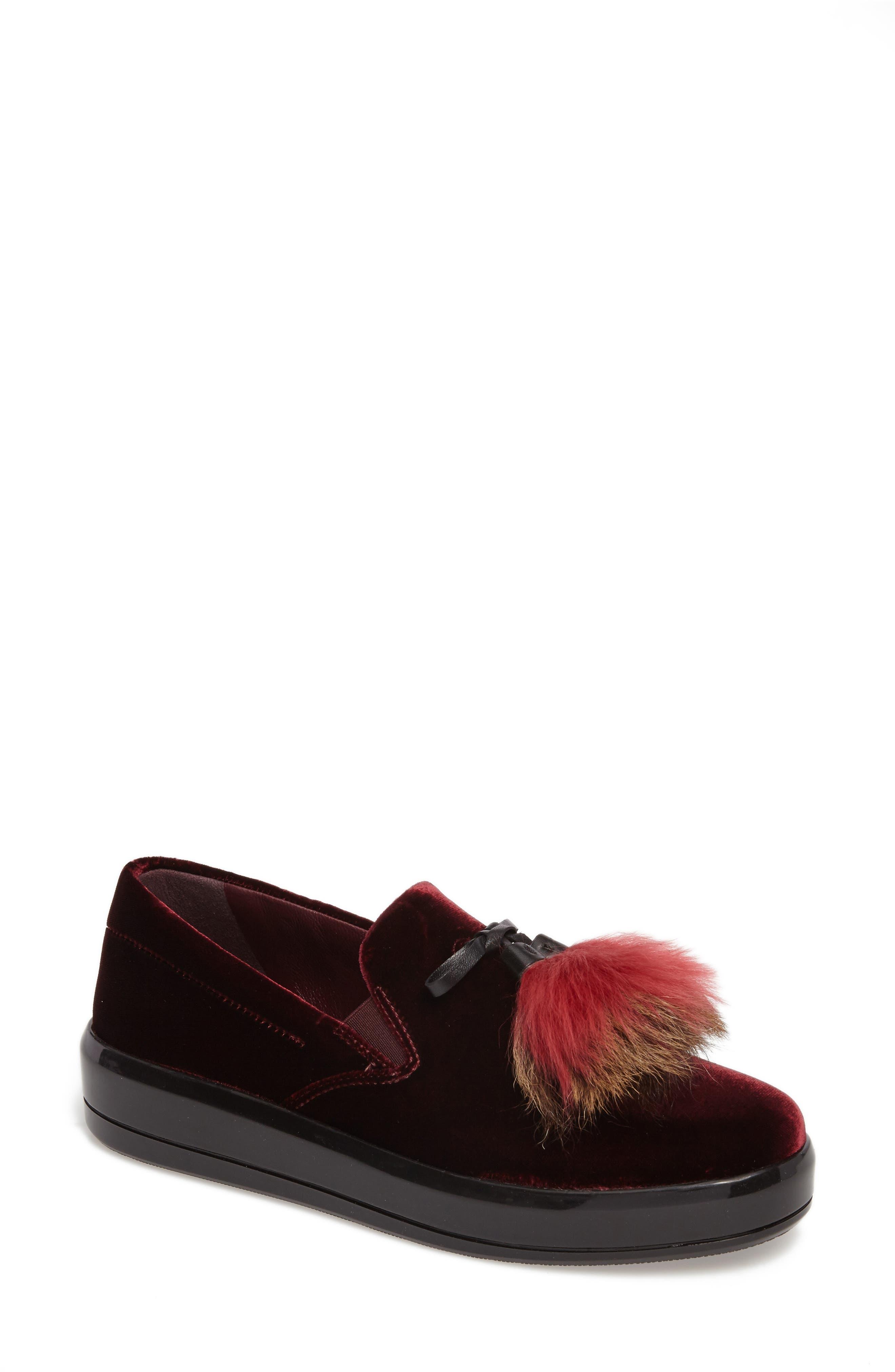 Prada Genuine Shearling Tassel Slip-On Sneaker (Women)