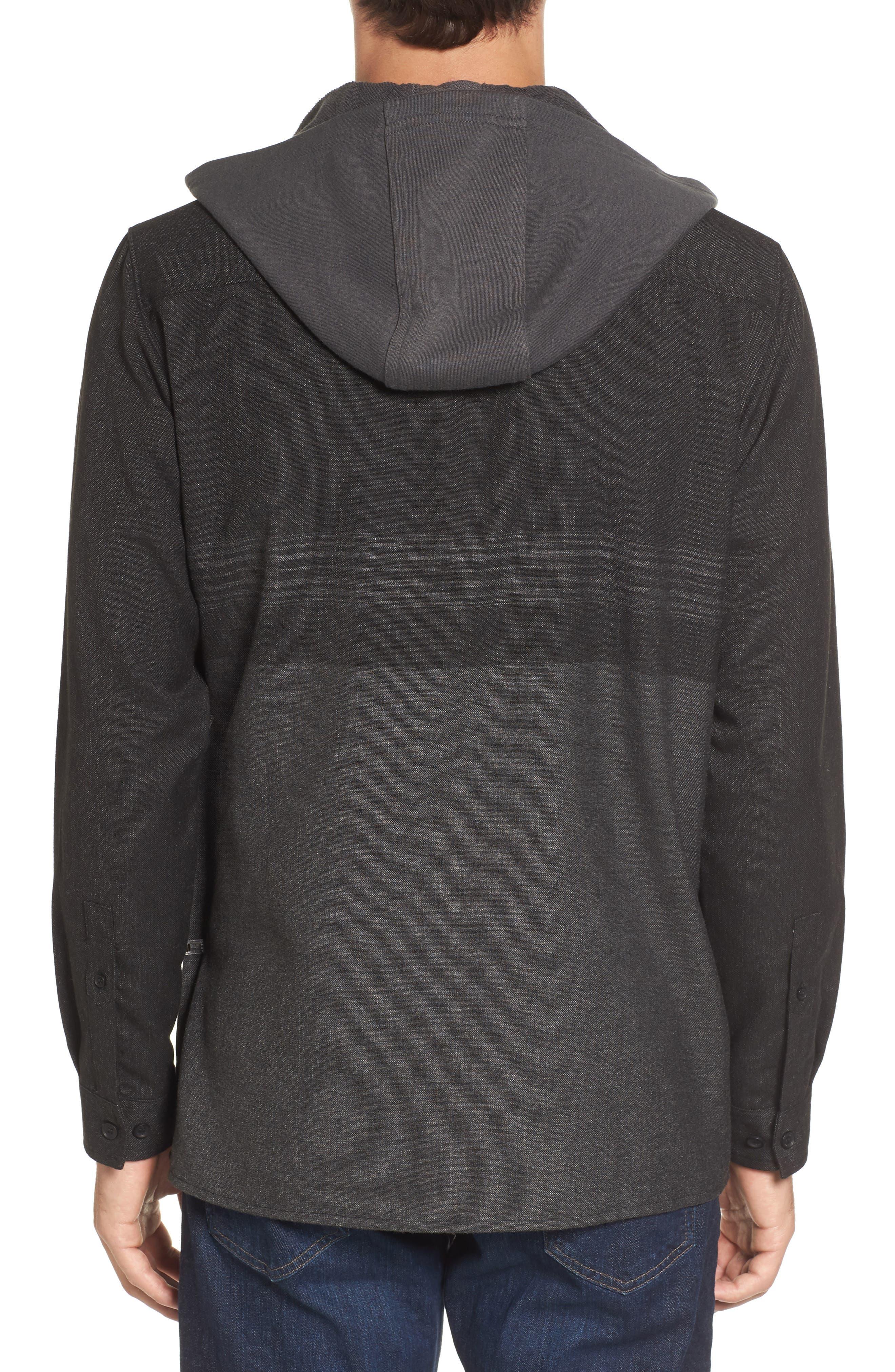 Jacinto Hooded Flannel Shirt,                             Alternate thumbnail 2, color,                             Black