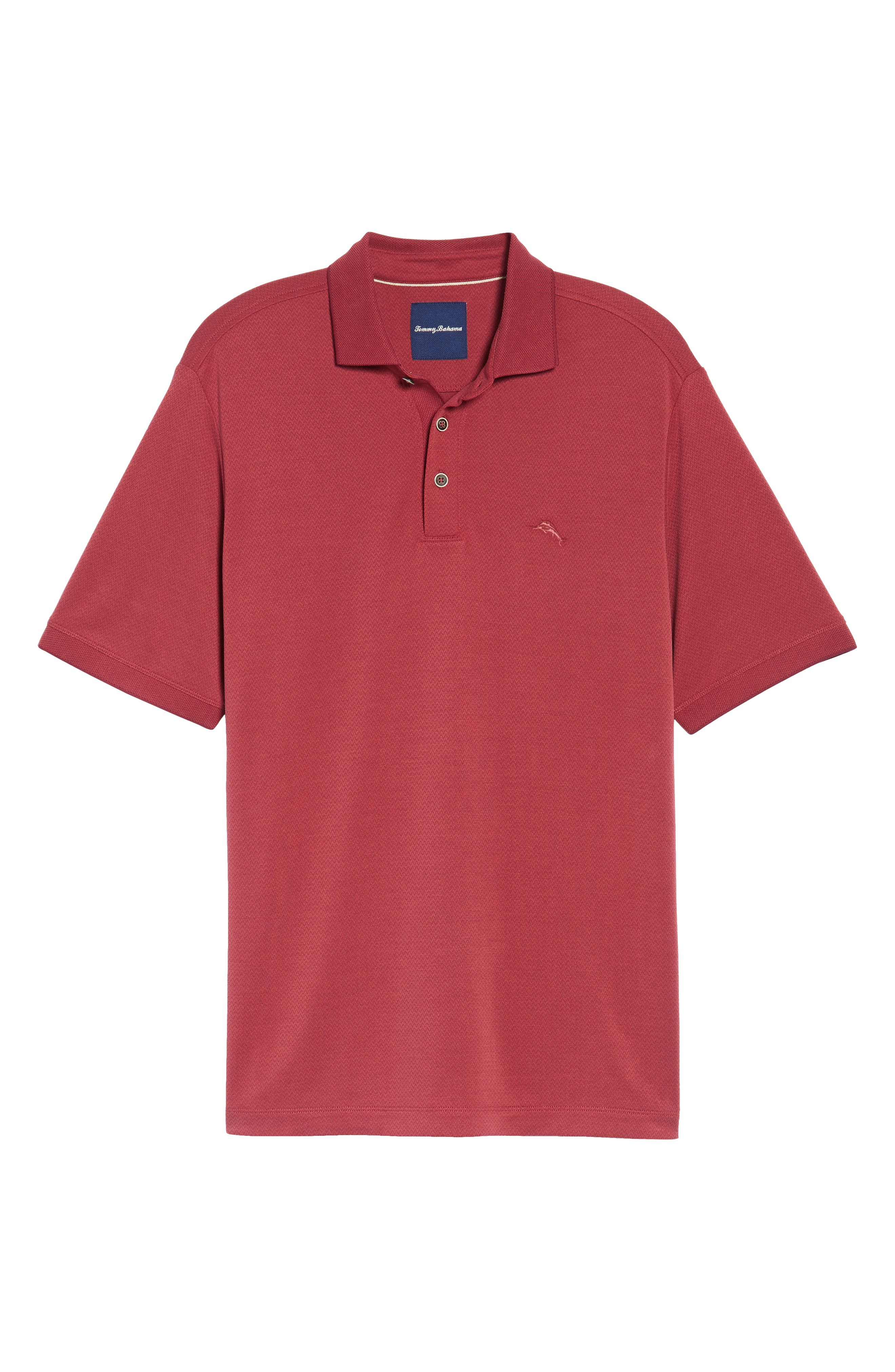 Ocean View Short Sleeve Jacquard Polo,                             Alternate thumbnail 6, color,                             Beet Red