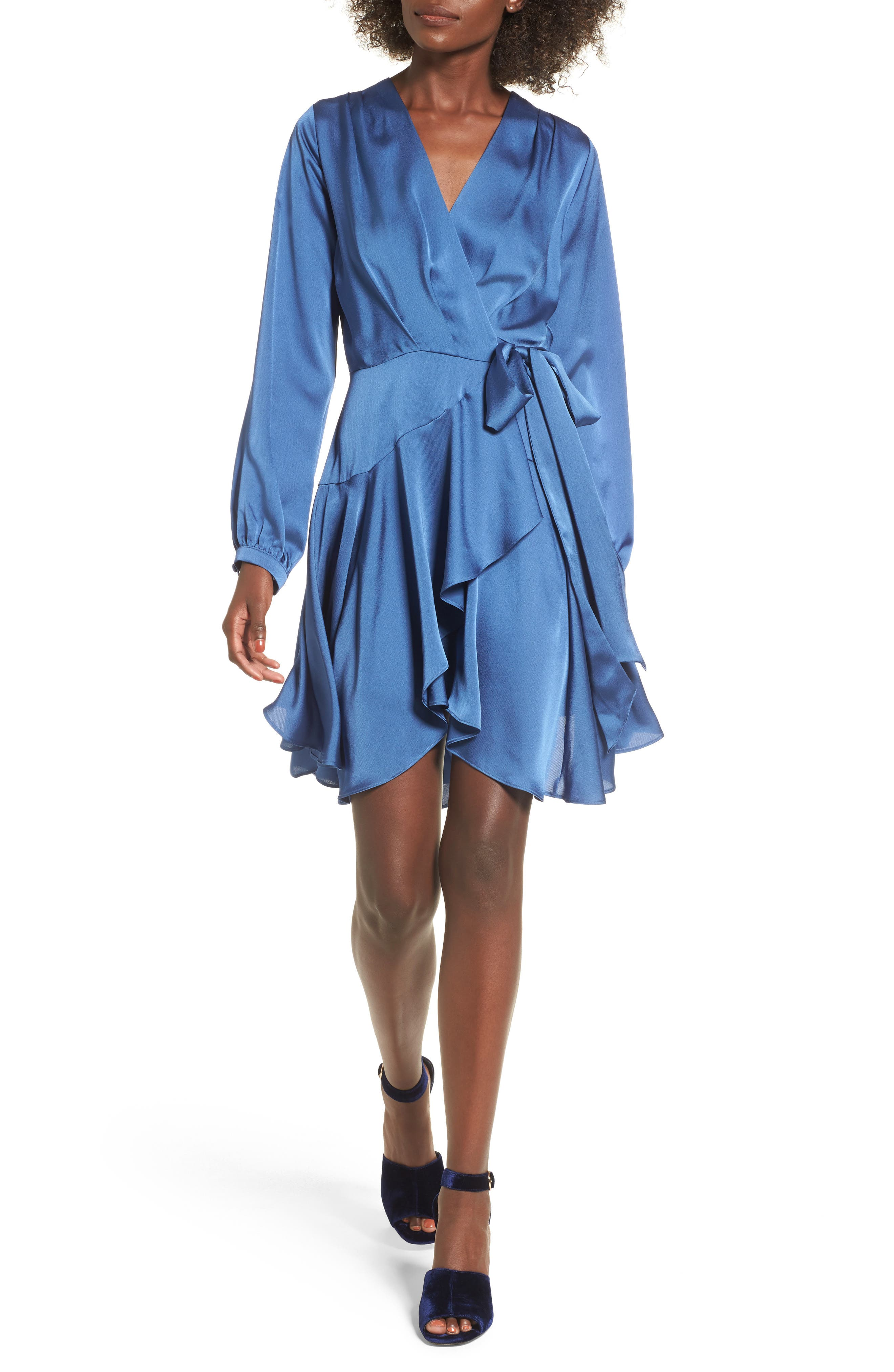 Elsa Satin Ruffle Wrap Minidress,                         Main,                         color, Blue