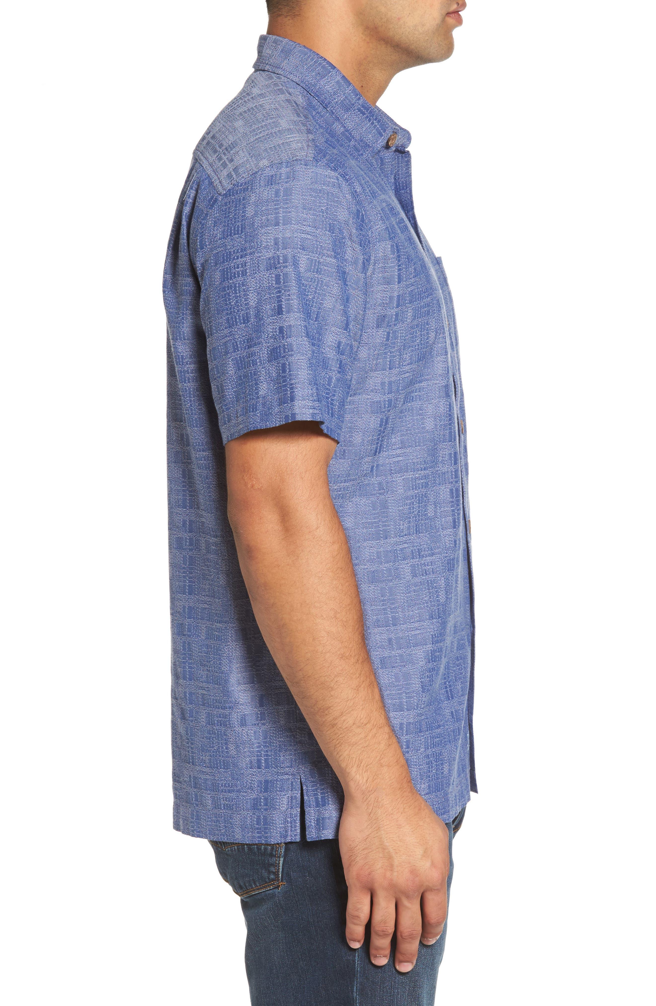 Getaway Grid Silk Blend Camp Shirt,                             Alternate thumbnail 3, color,                             Sanibel Blue