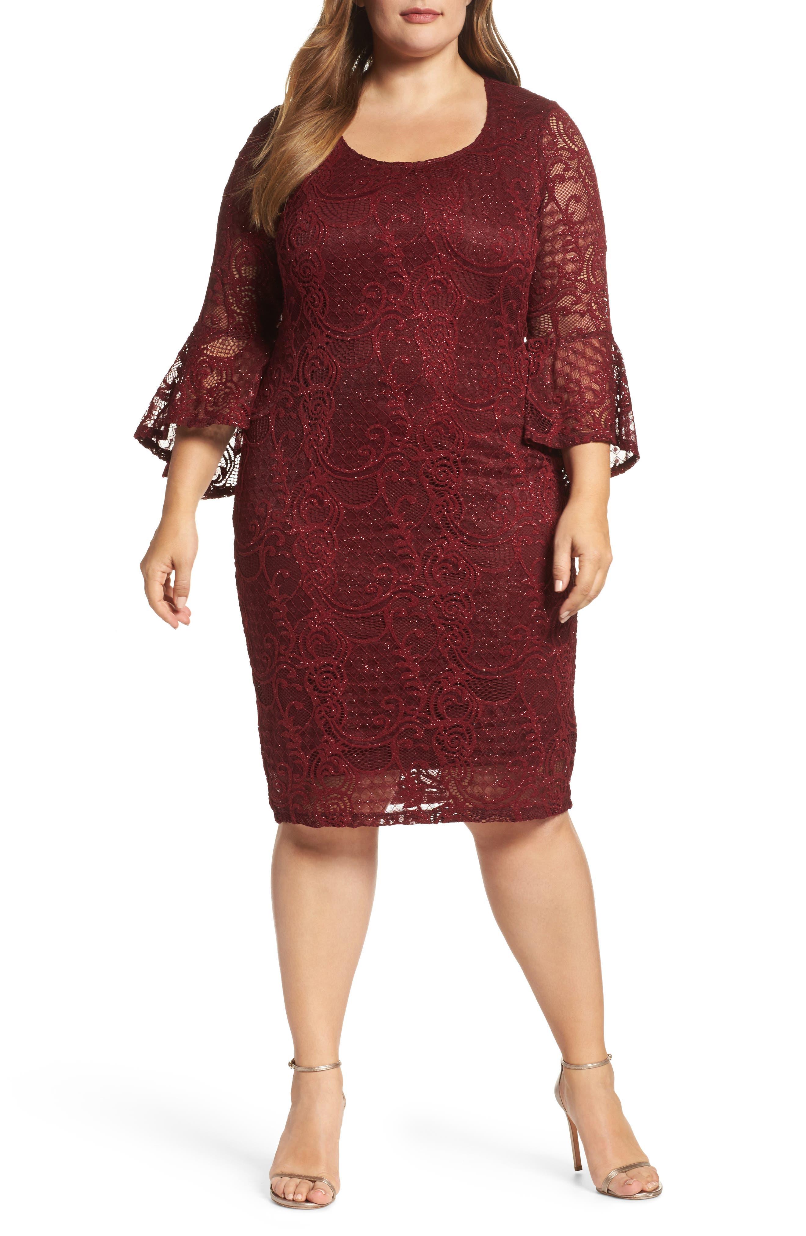 Bell Sleeve Glitter Lace Sheath Dress,                         Main,                         color, Burgundy