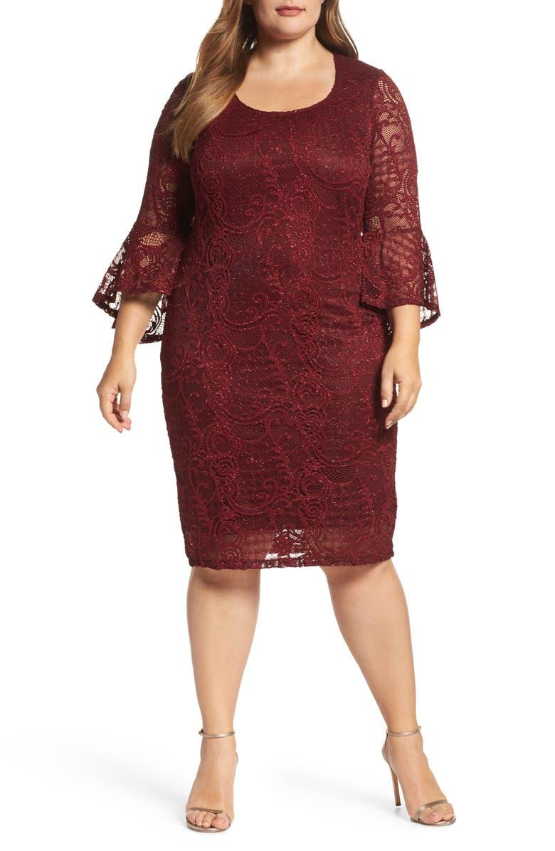 Bell Sleeve Glitter Lace Sheath Dress