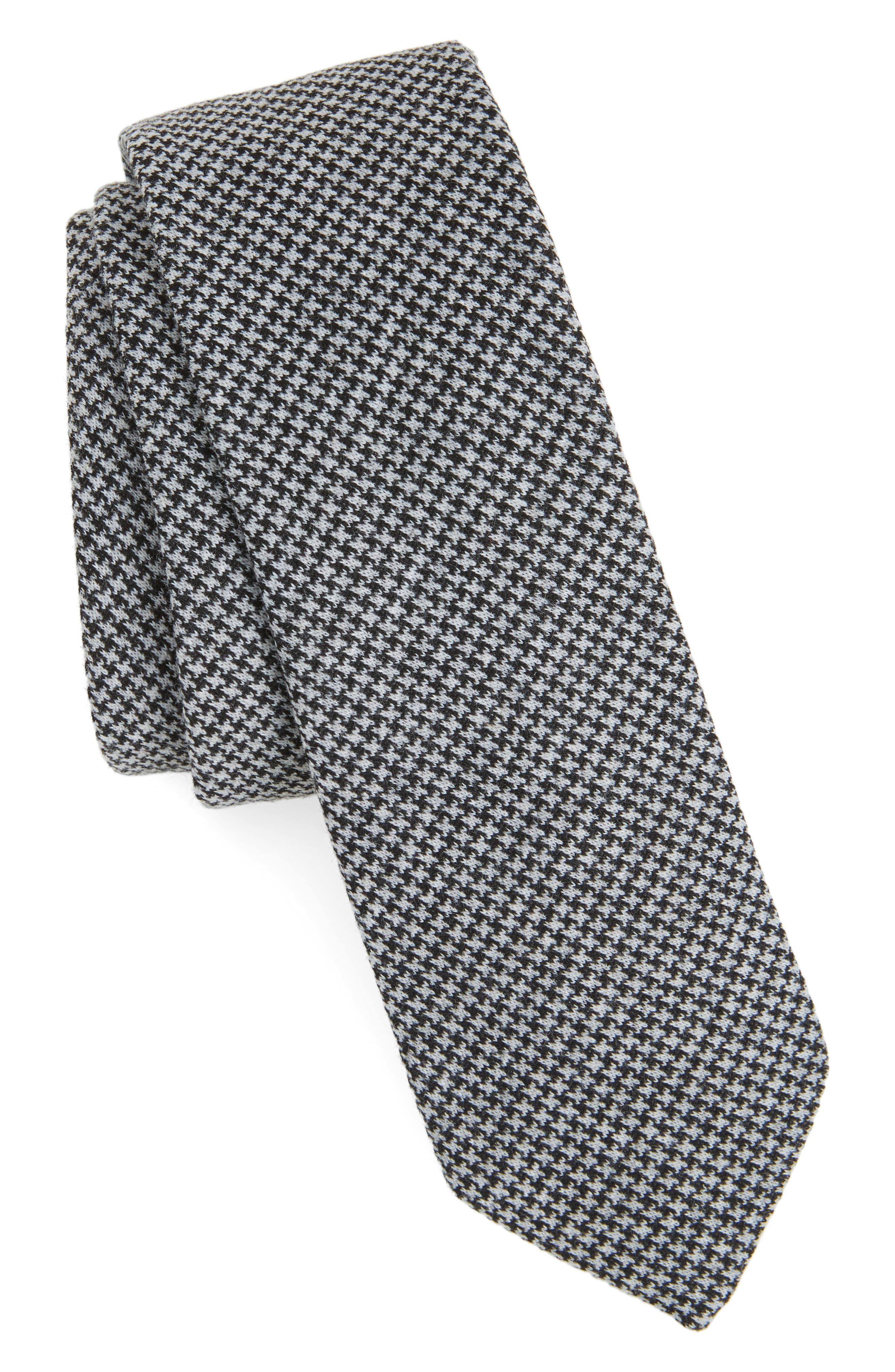 Walton Houndstooth Skinny Tie,                         Main,                         color, Navy