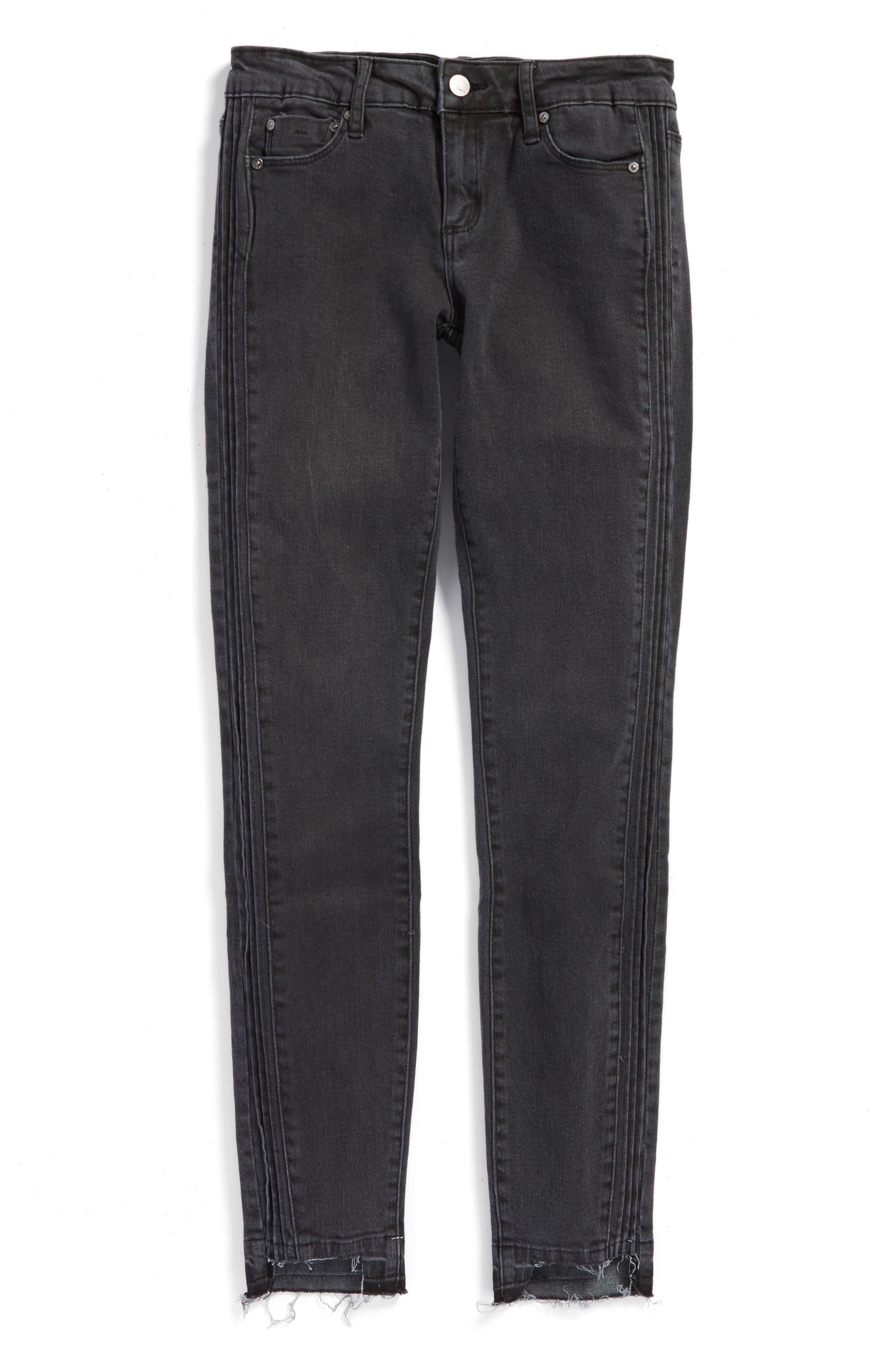 Tuxedo Step Hem Skinny Jeans,                         Main,                         color, Dark Grey