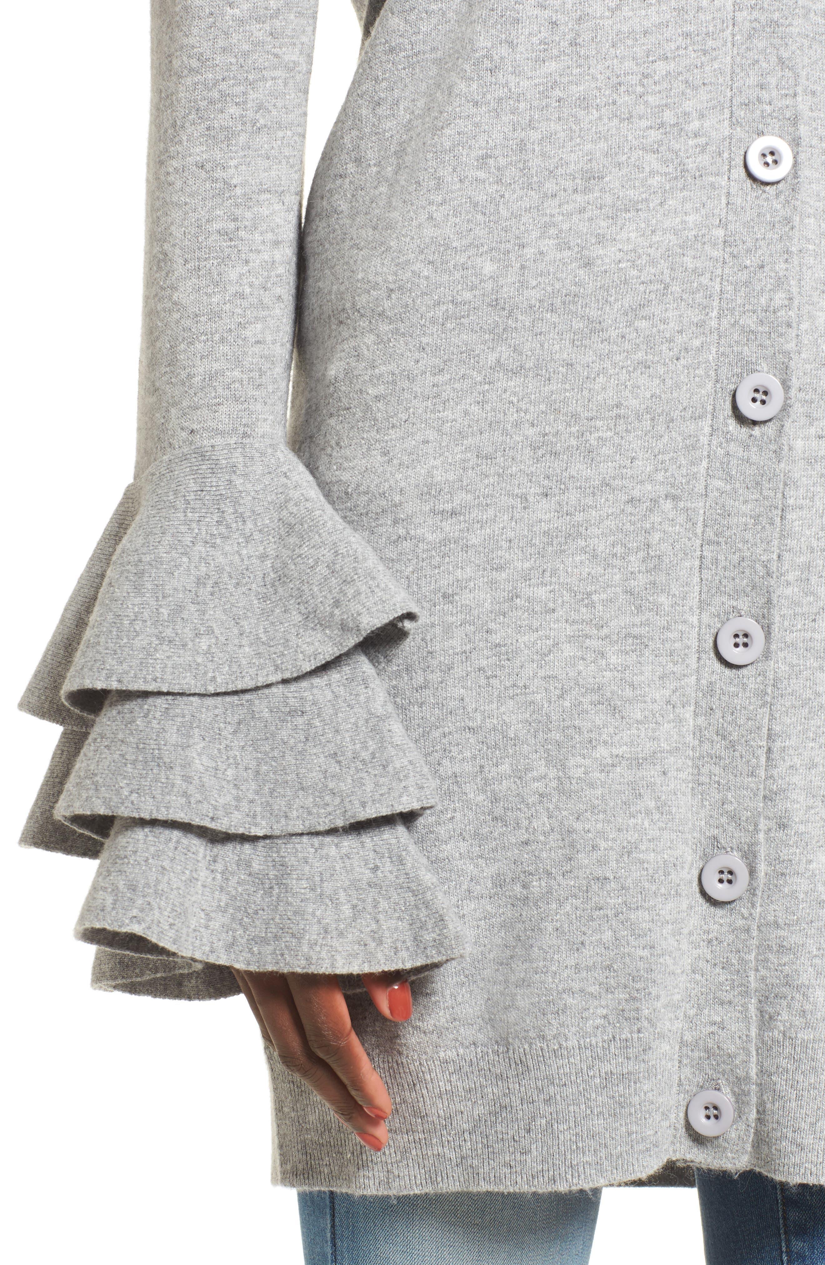 Ruffle Sleeve Longline Cardigan,                             Alternate thumbnail 4, color,                             Grey