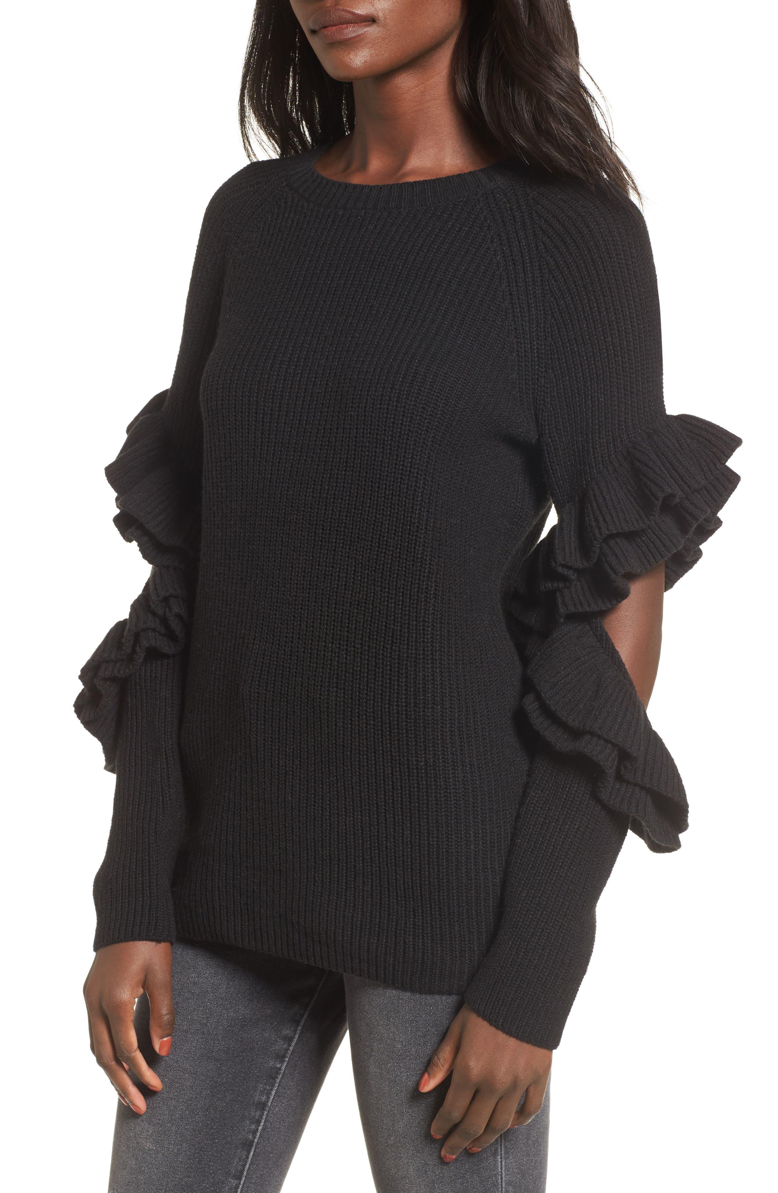 BP. Elbow Cutout Ruffle Sweater