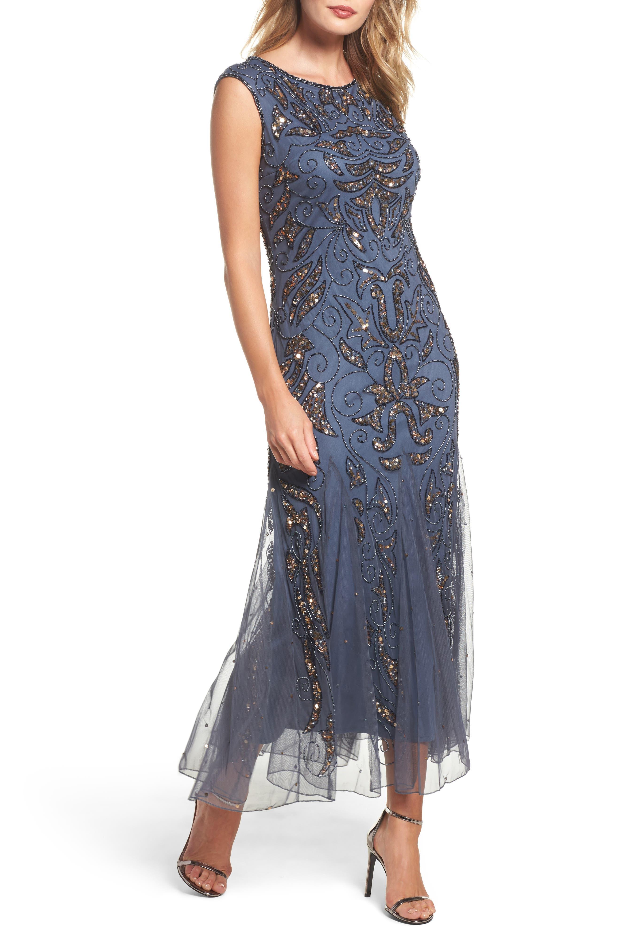 Mermaid Gown,                             Main thumbnail 1, color,                             Grey
