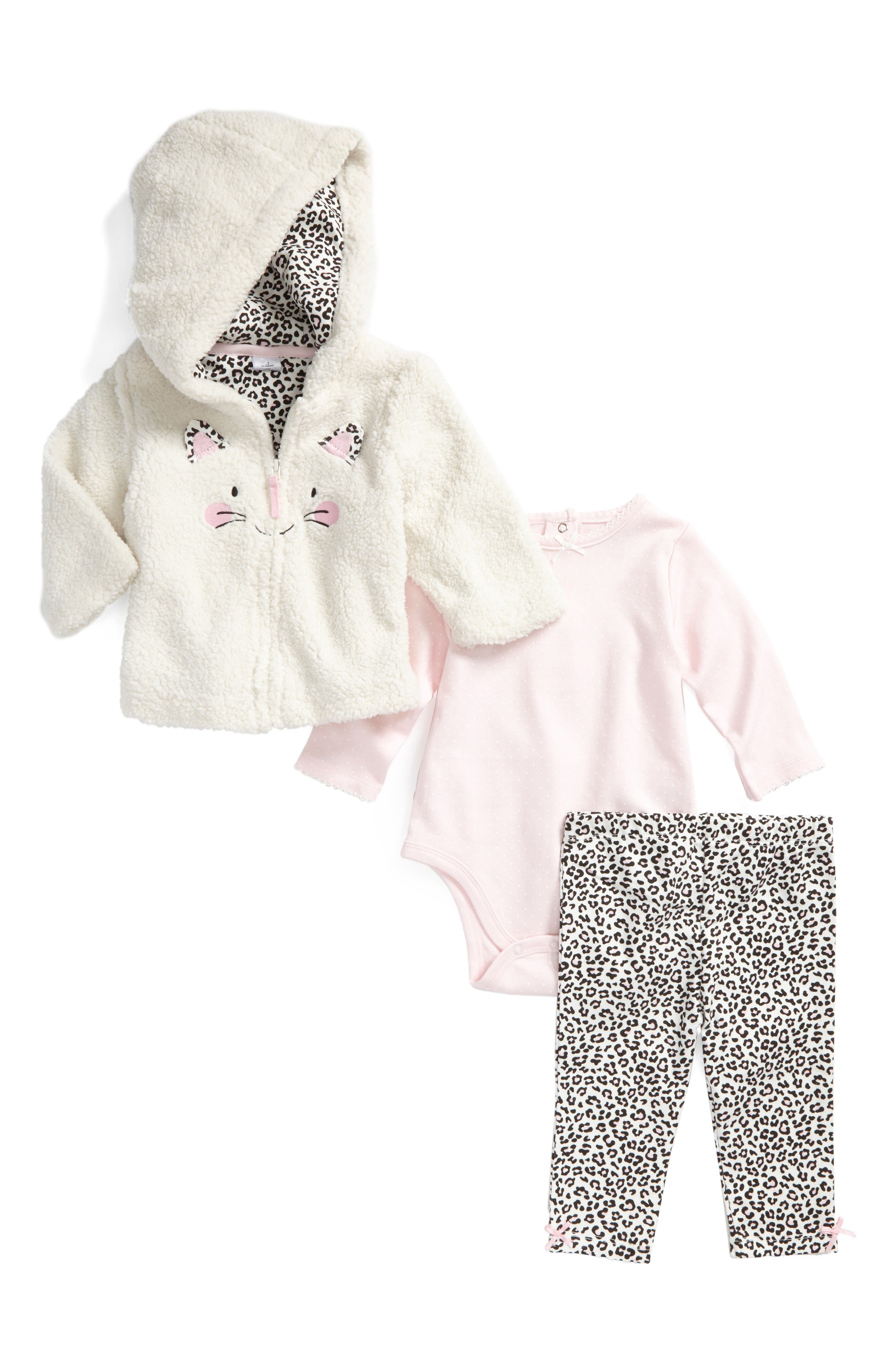 Leopard Hoodie, Bodysuit & Leggings Set,                         Main,                         color, Ivory/ Pink Print