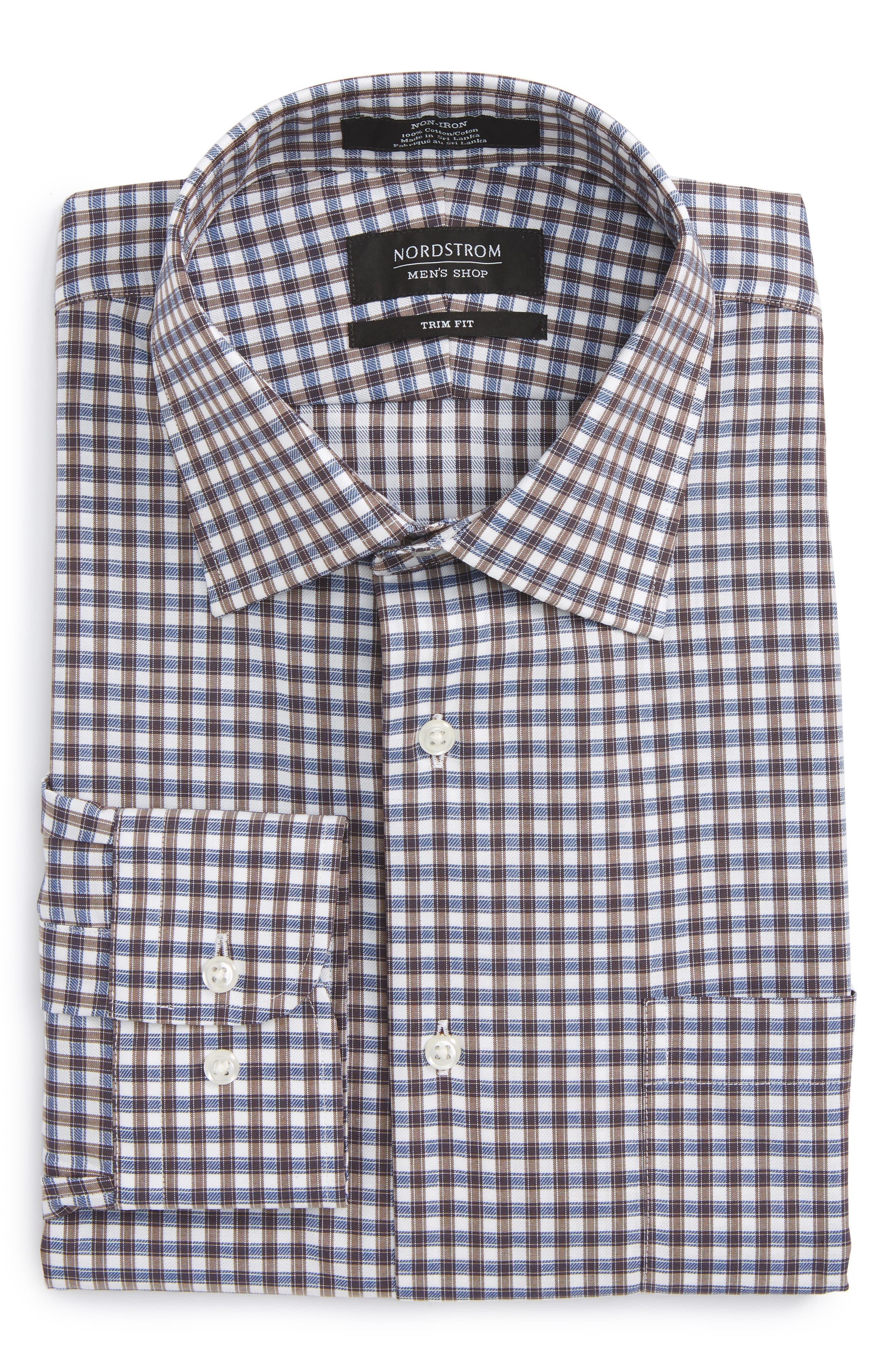 Trim Fit Non-Iron Check Dress Shirt,                             Alternate thumbnail 6, color,                             Brown Earth